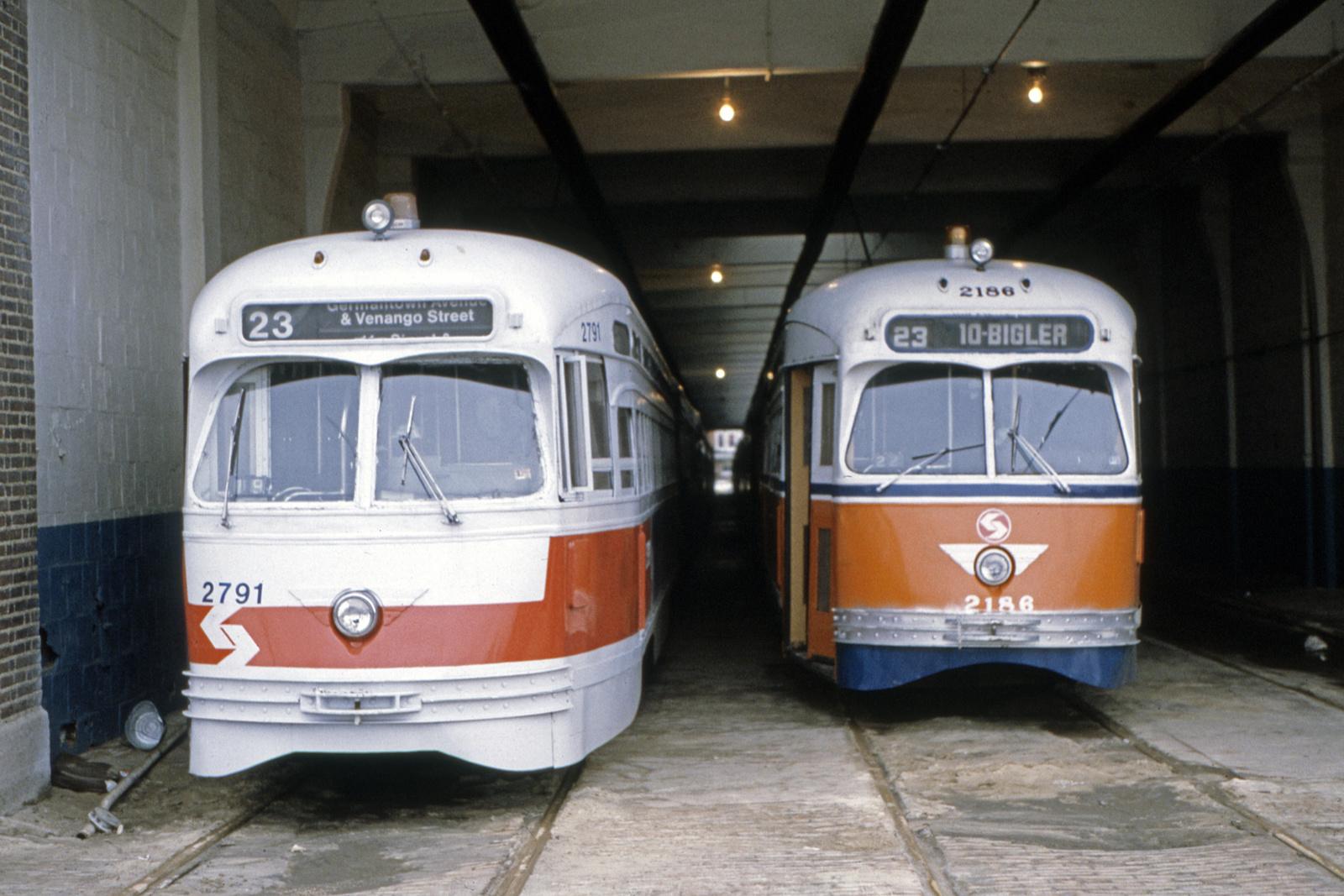 (686k, 1600x1067)<br><b>Country:</b> United States<br><b>City:</b> Philadelphia, PA<br><b>System:</b> SEPTA (or Predecessor)<br><b>Line:</b> Rt. 23-Germantown<br><b>Location:</b> Germantown Depot<br><b>Car:</b> PTC/SEPTA Postwar All-electric PCC (St.Louis, 1947) 2791/2186 <br><b>Collection of:</b> David Pirmann<br><b>Date:</b> 8/1983<br><b>Viewed (this week/total):</b> 0 / 52