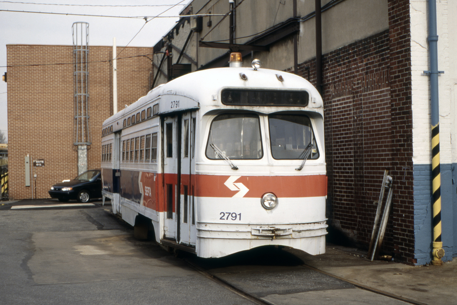 (702k, 1600x1067)<br><b>Country:</b> United States<br><b>City:</b> Philadelphia, PA<br><b>System:</b> SEPTA (or Predecessor)<br><b>Line:</b> Rt. 23-Germantown<br><b>Location:</b> Germantown Depot<br><b>Car:</b> PTC/SEPTA Postwar All-electric PCC (St.Louis, 1947) 2791 <br><b>Collection of:</b> David Pirmann<br><b>Date:</b> 12/1994<br><b>Viewed (this week/total):</b> 0 / 61