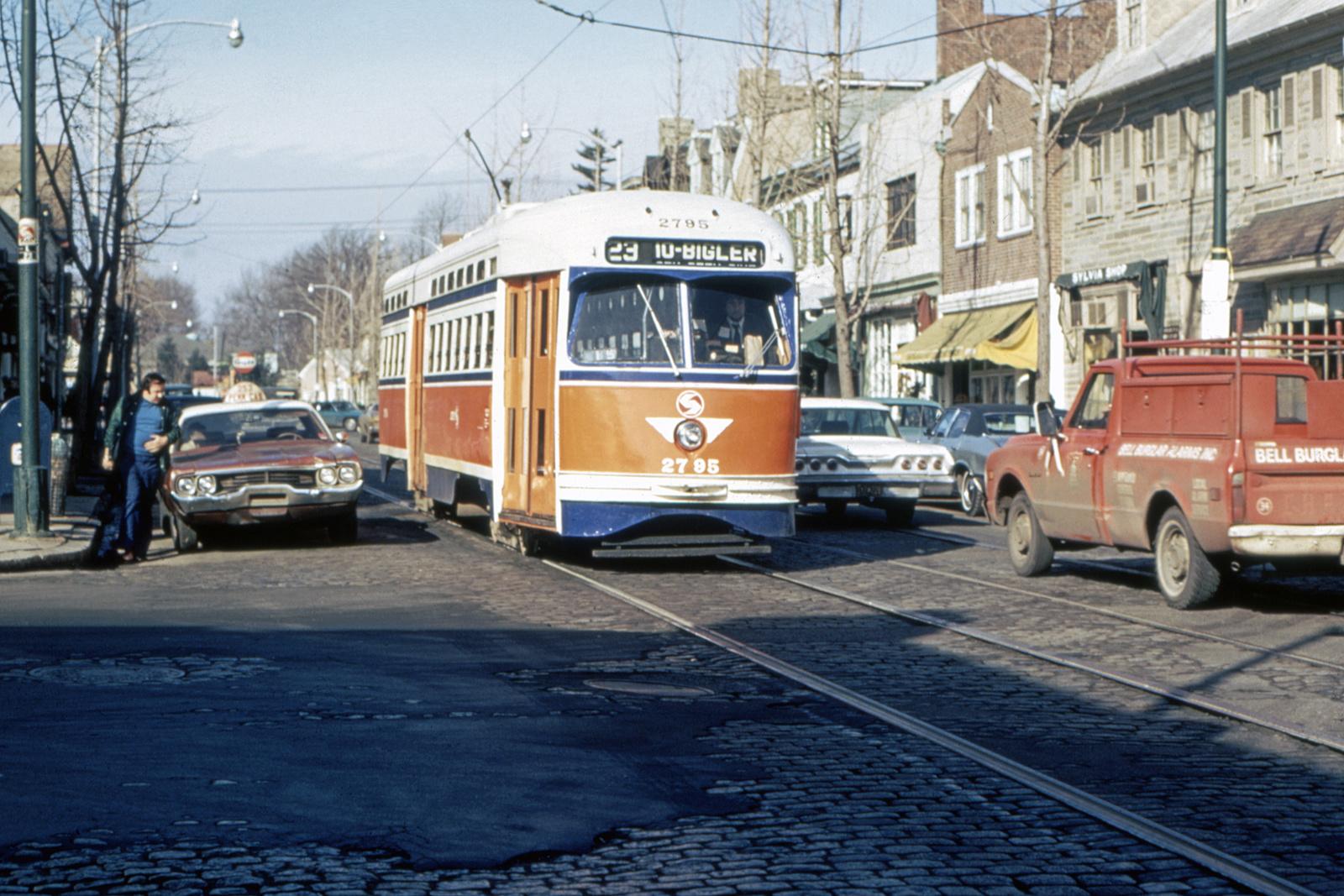 (784k, 1600x1067)<br><b>Country:</b> United States<br><b>City:</b> Philadelphia, PA<br><b>System:</b> SEPTA (or Predecessor)<br><b>Line:</b> Rt. 23-Germantown<br><b>Location:</b> Germantown/Highland<br><b>Car:</b> PTC/SEPTA Postwar All-electric PCC (St.Louis, 1947) 2795 <br><b>Collection of:</b> David Pirmann<br><b>Viewed (this week/total):</b> 0 / 44