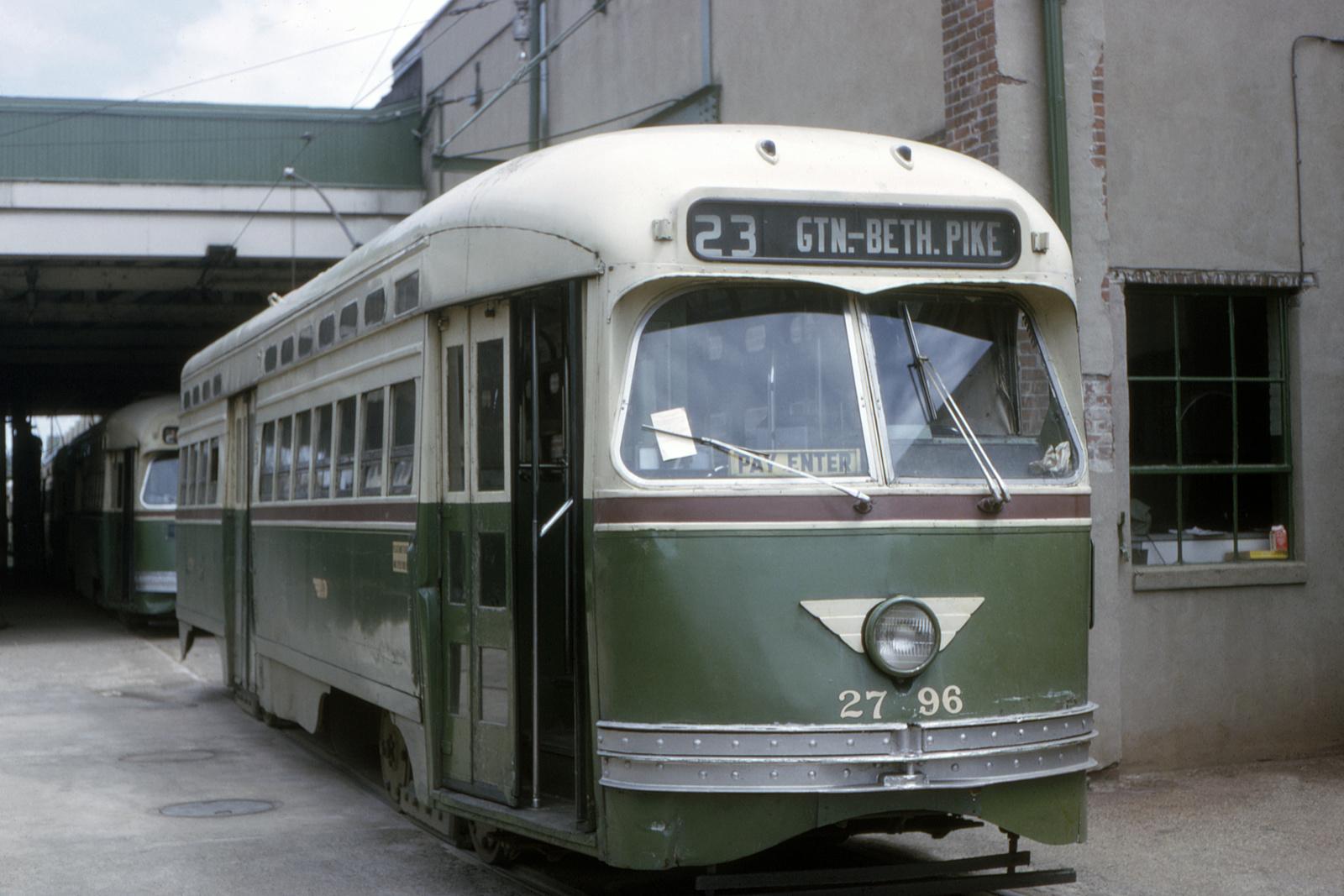 (575k, 1600x1067)<br><b>Country:</b> United States<br><b>City:</b> Philadelphia, PA<br><b>System:</b> SEPTA (or Predecessor)<br><b>Line:</b> Rt. 23-Germantown<br><b>Location:</b> Germantown Depot<br><b>Car:</b> PTC/SEPTA Postwar All-electric PCC (St.Louis, 1947) 2796 <br><b>Collection of:</b> David Pirmann<br><b>Date:</b> 5/1964<br><b>Viewed (this week/total):</b> 1 / 51