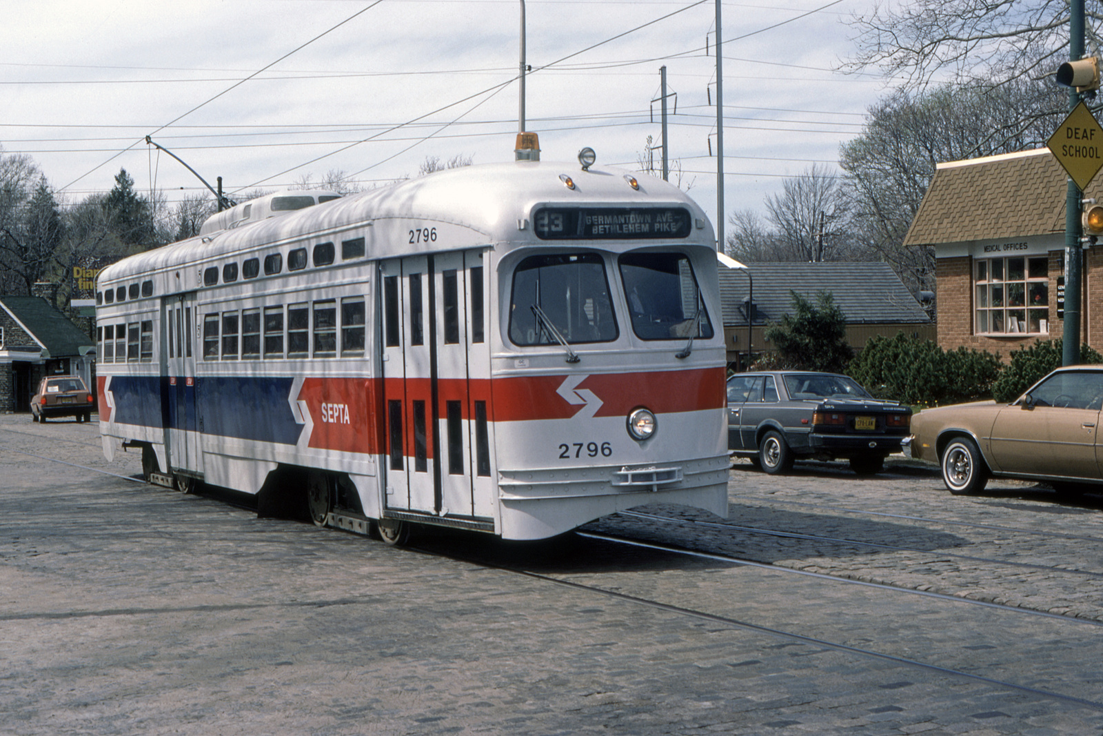 (835k, 1600x1067)<br><b>Country:</b> United States<br><b>City:</b> Philadelphia, PA<br><b>System:</b> SEPTA (or Predecessor)<br><b>Line:</b> Rt. 23-Germantown<br><b>Location:</b> Germantown/n. of Roumfort (Trolley Car Diner)<br><b>Car:</b> PTC/SEPTA Postwar All-electric PCC (St.Louis, 1947) 2796 <br><b>Collection of:</b> David Pirmann<br><b>Date:</b> 5/1984<br><b>Viewed (this week/total):</b> 0 / 56
