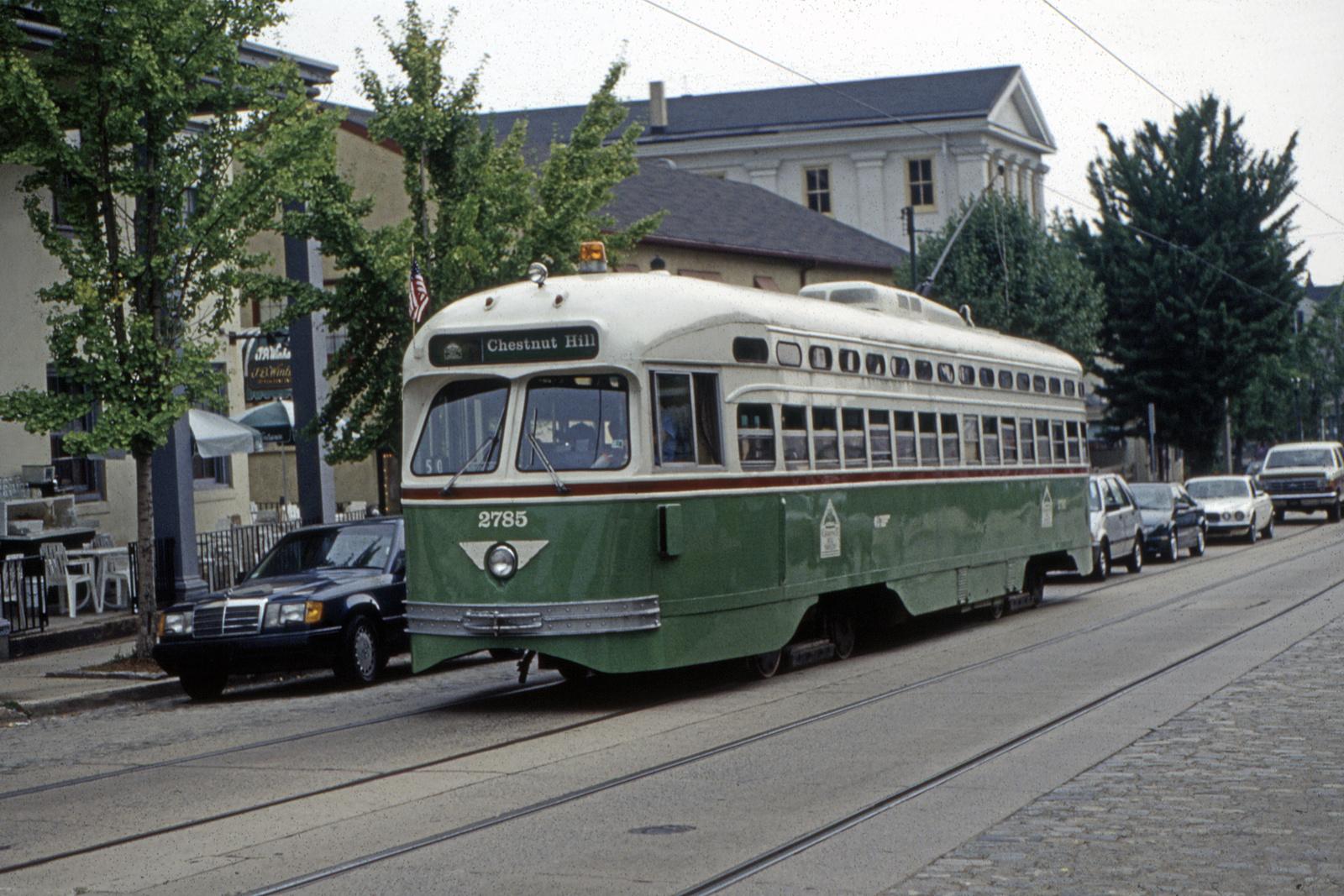 (850k, 1600x1067)<br><b>Country:</b> United States<br><b>City:</b> Philadelphia, PA<br><b>System:</b> SEPTA (or Predecessor)<br><b>Line:</b> Rt. 23-Germantown<br><b>Location:</b> Germantown/Southampton<br><b>Car:</b> PTC/SEPTA Postwar All-electric PCC (St.Louis, 1947) 2785 <br><b>Collection of:</b> David Pirmann<br><b>Viewed (this week/total):</b> 0 / 44