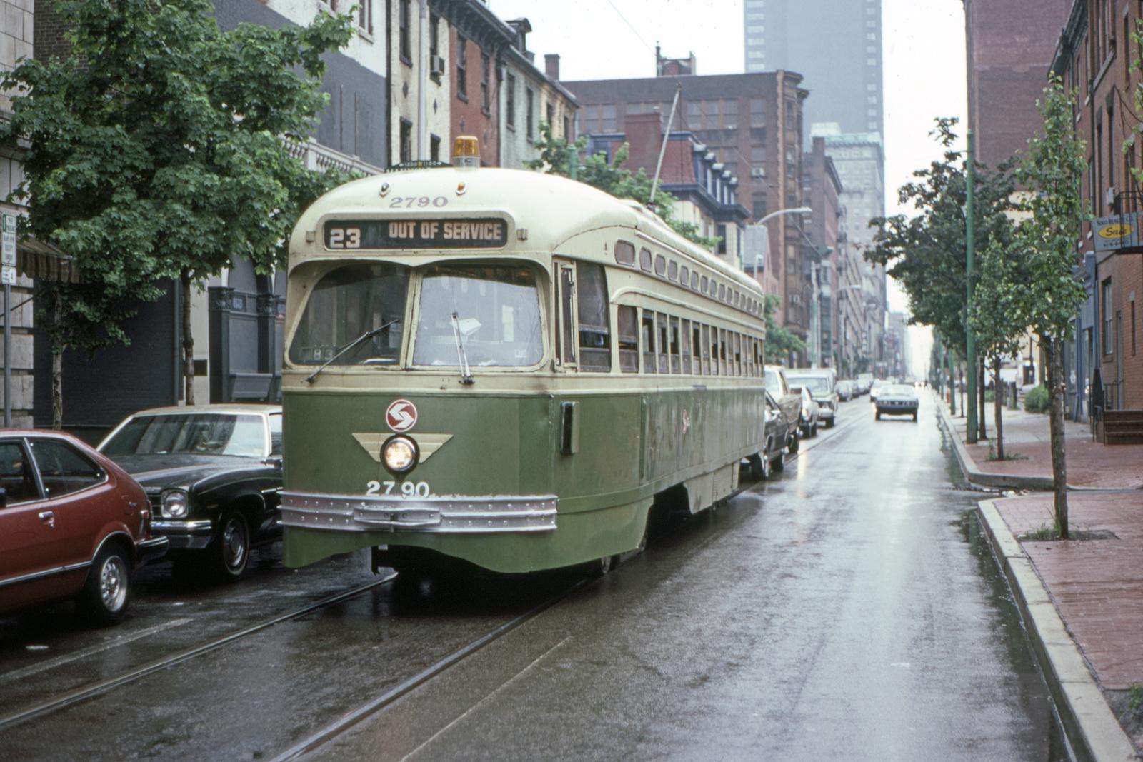(752k, 1600x1067)<br><b>Country:</b> United States<br><b>City:</b> Philadelphia, PA<br><b>System:</b> SEPTA (or Predecessor)<br><b>Line:</b> Rt. 23-Germantown<br><b>Location:</b> 12th/Manning<br><b>Car:</b> PTC/SEPTA Postwar All-electric PCC (St.Louis, 1947) 2790 <br><b>Collection of:</b> David Pirmann<br><b>Date:</b> 5/22/1983<br><b>Viewed (this week/total):</b> 0 / 65