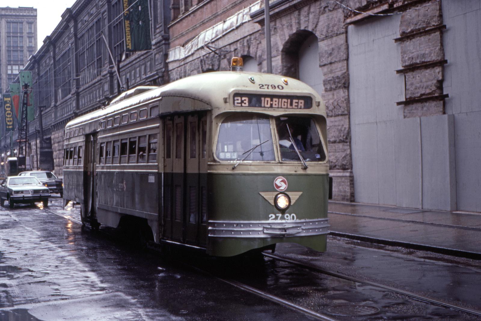 (706k, 1600x1067)<br><b>Country:</b> United States<br><b>City:</b> Philadelphia, PA<br><b>System:</b> SEPTA (or Predecessor)<br><b>Line:</b> Rt. 23-Germantown<br><b>Location:</b> 12th/Filbert<br><b>Car:</b> PTC/SEPTA Postwar All-electric PCC (St.Louis, 1947) 2790 <br><b>Collection of:</b> David Pirmann<br><b>Date:</b> 5/22/1983<br><b>Viewed (this week/total):</b> 0 / 62