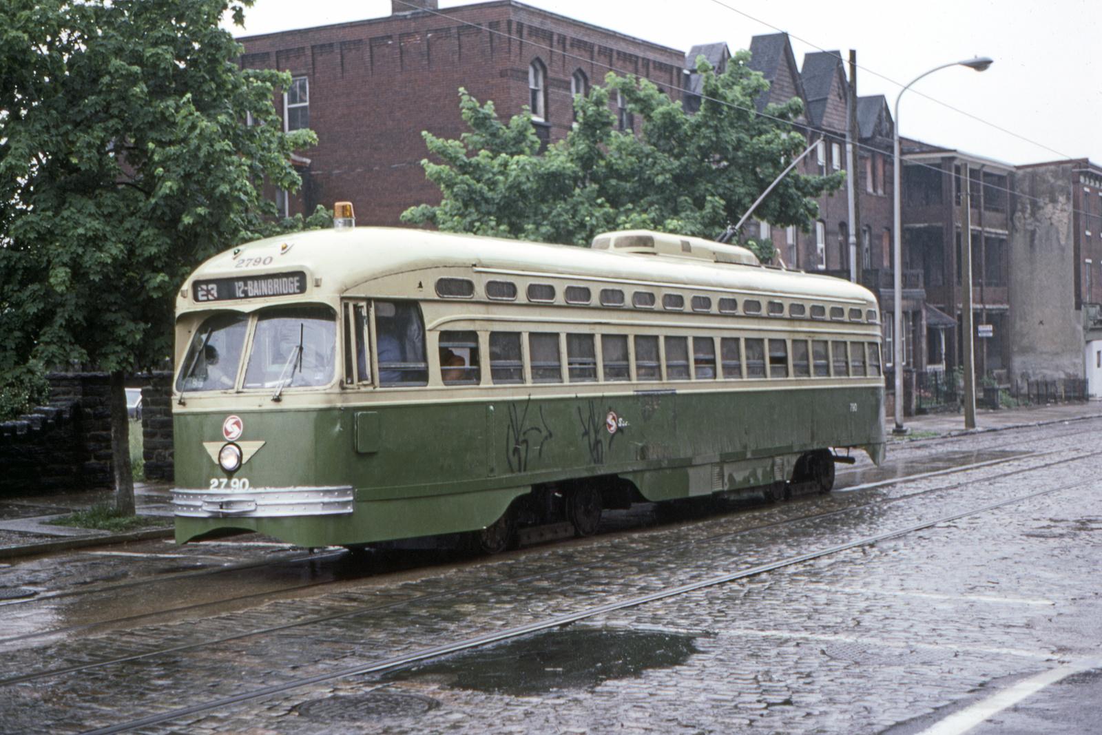 (797k, 1600x1067)<br><b>Country:</b> United States<br><b>City:</b> Philadelphia, PA<br><b>System:</b> SEPTA (or Predecessor)<br><b>Line:</b> Rt. 23-Germantown<br><b>Location:</b> Germantown/Logan<br><b>Car:</b> PTC/SEPTA Postwar All-electric PCC (St.Louis, 1947) 2790 <br><b>Collection of:</b> David Pirmann<br><b>Date:</b> 5/22/1983<br><b>Viewed (this week/total):</b> 0 / 47