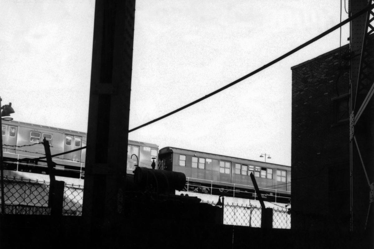 (244k, 1200x800)<br><b>Country:</b> United States<br><b>City:</b> New York<br><b>System:</b> New York City Transit<br><b>Location:</b> East New York Yard/Shops<br><b>Car:</b> BMT D-Type Triplex 6108 <br><b>Collection of:</b> David Pirmann<br><b>Date:</b> 11/14/1962<br><b>Notes:</b> With R-16 6312<br><b>Viewed (this week/total):</b> 1 / 86