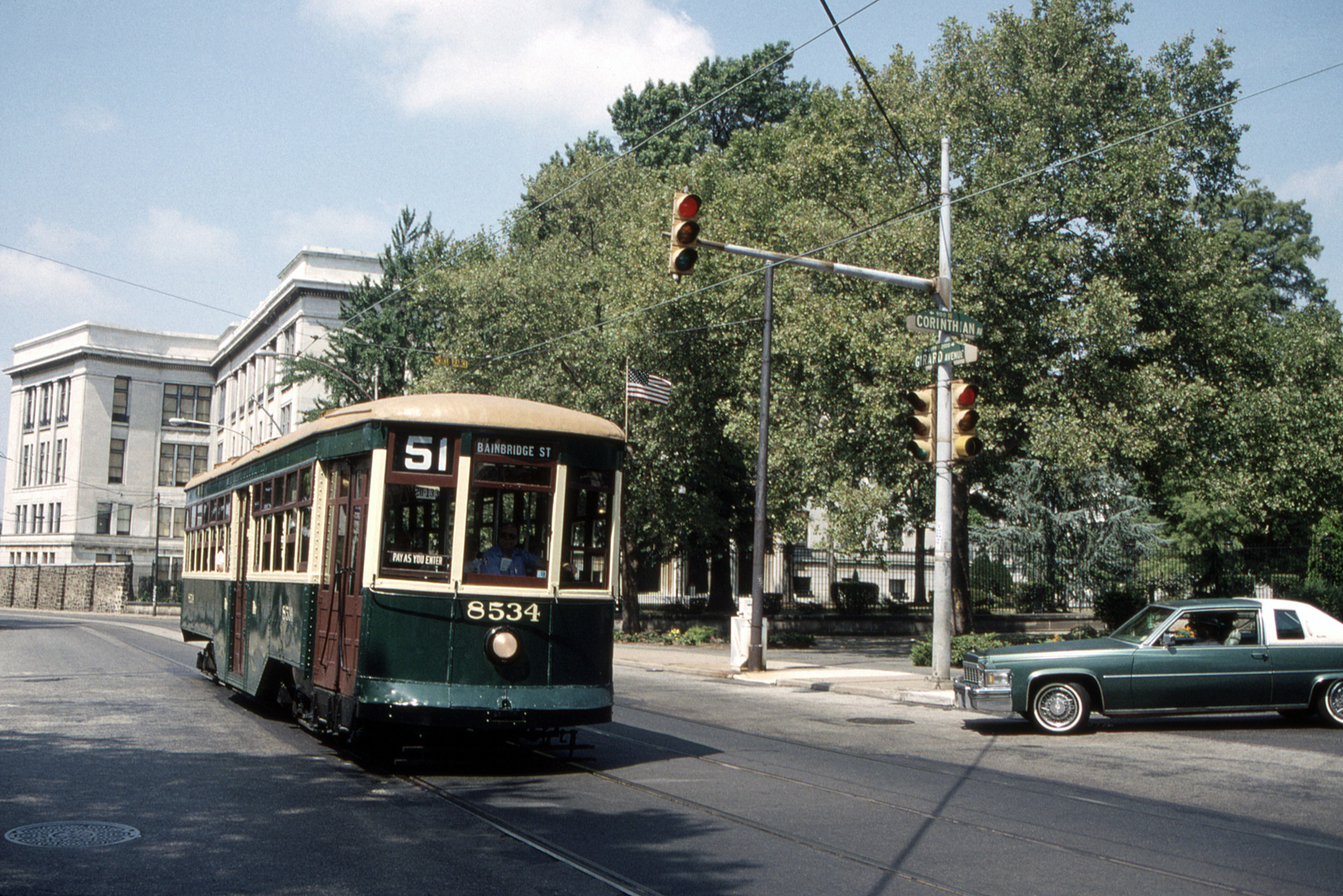 (1016k, 1600x1067)<br><b>Country:</b> United States<br><b>City:</b> Philadelphia, PA<br><b>System:</b> SEPTA (or Predecessor)<br><b>Line:</b> Rt. 15-Girard<br><b>Location:</b> Girard/S. College/Corinthian<br><b>Route:</b> Fan Trip<br><b>Car:</b> PTC 8534 <br><b>Collection of:</b> David Pirmann<br><b>Date:</b> 8/27/1995<br><b>Viewed (this week/total):</b> 0 / 69