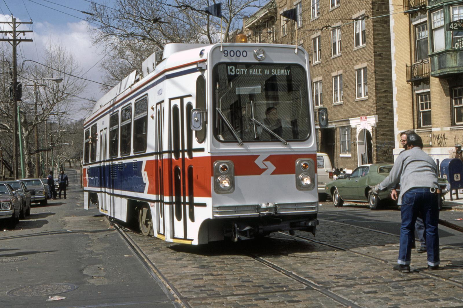 (930k, 1600x1067)<br><b>Country:</b> United States<br><b>City:</b> Philadelphia, PA<br><b>System:</b> SEPTA (or Predecessor)<br><b>Line:</b> Rt. 13-Yeadon/Darby<br><b>Location:</b> Chester/42nd<br><b>Car:</b> SEPTA K Single-ended (Kawasaki, 1981) 9000 <br><b>Collection of:</b> David Pirmann<br><b>Date:</b> 3/1981<br><b>Viewed (this week/total):</b> 0 / 108