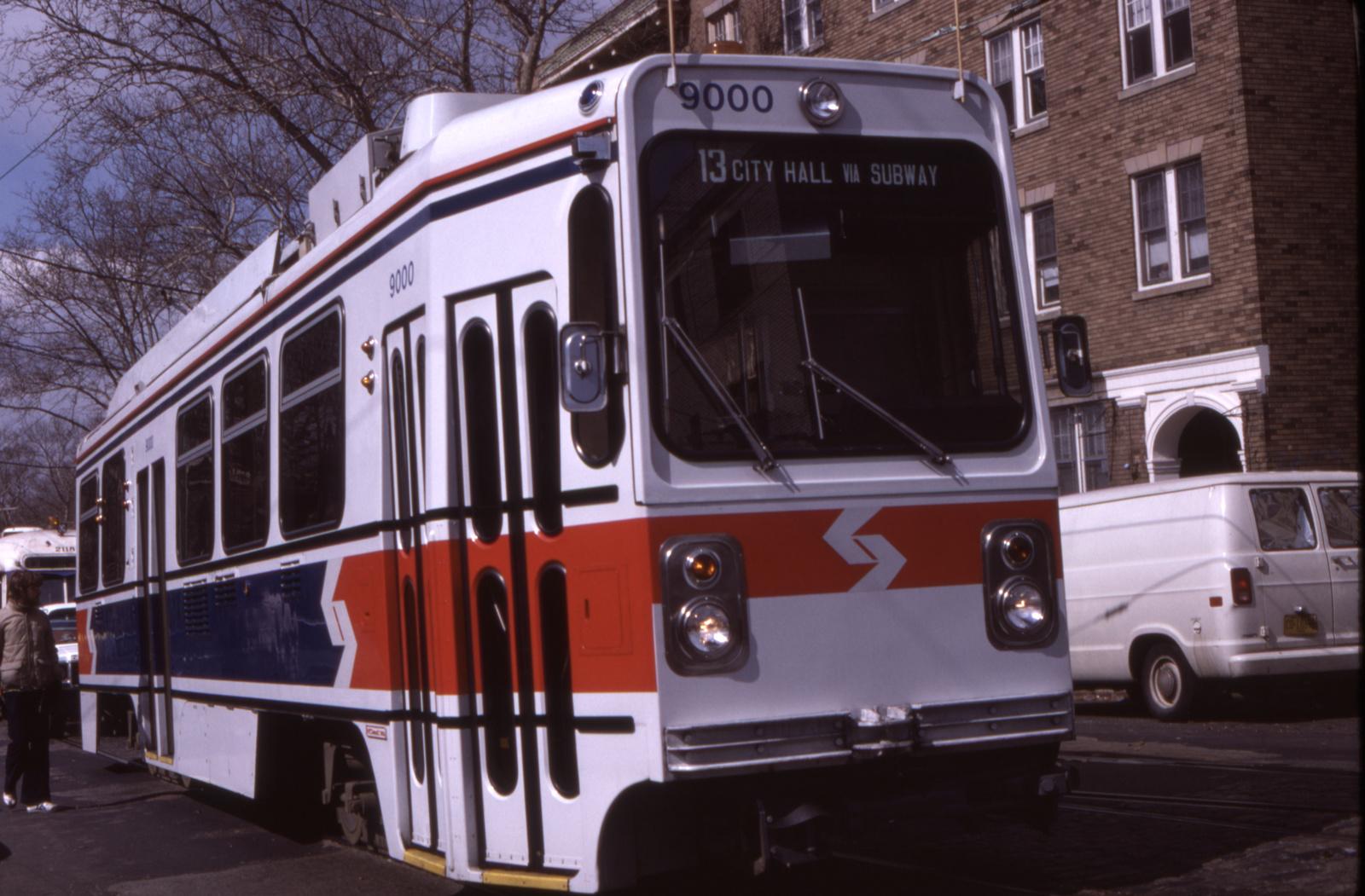 (618k, 1600x1051)<br><b>Country:</b> United States<br><b>City:</b> Philadelphia, PA<br><b>System:</b> SEPTA (or Predecessor)<br><b>Line:</b> Rt. 13-Yeadon/Darby<br><b>Location:</b> Chester/42nd<br><b>Car:</b> SEPTA K Single-ended (Kawasaki, 1981) 9000 <br><b>Collection of:</b> David Pirmann<br><b>Date:</b> 3/1981<br><b>Viewed (this week/total):</b> 1 / 89
