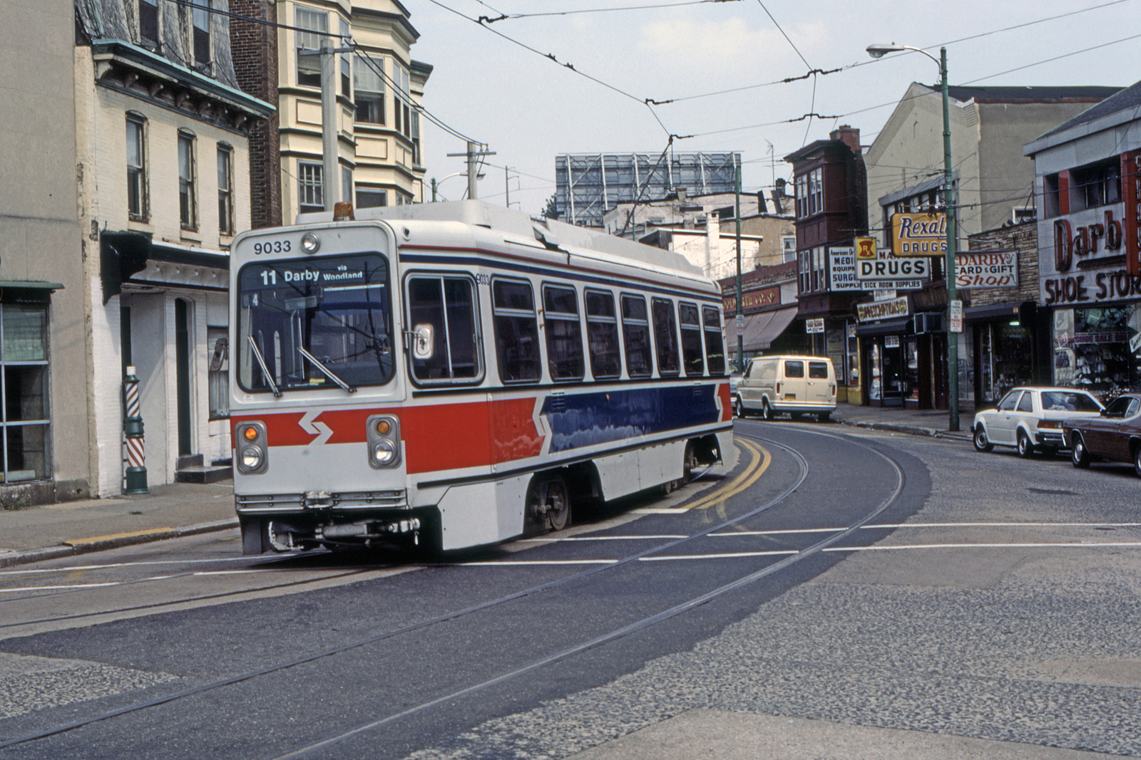 (904k, 1600x1067)<br><b>Country:</b> United States<br><b>City:</b> Philadelphia, PA<br><b>System:</b> SEPTA (or Predecessor)<br><b>Line:</b> Rt. 11-Darby<br><b>Location:</b> Main/9th (Darby)<br><b>Car:</b> SEPTA K Single-ended (Kawasaki, 1981) 9033 <br><b>Collection of:</b> David Pirmann<br><b>Date:</b> 7/20/1993<br><b>Viewed (this week/total):</b> 0 / 100