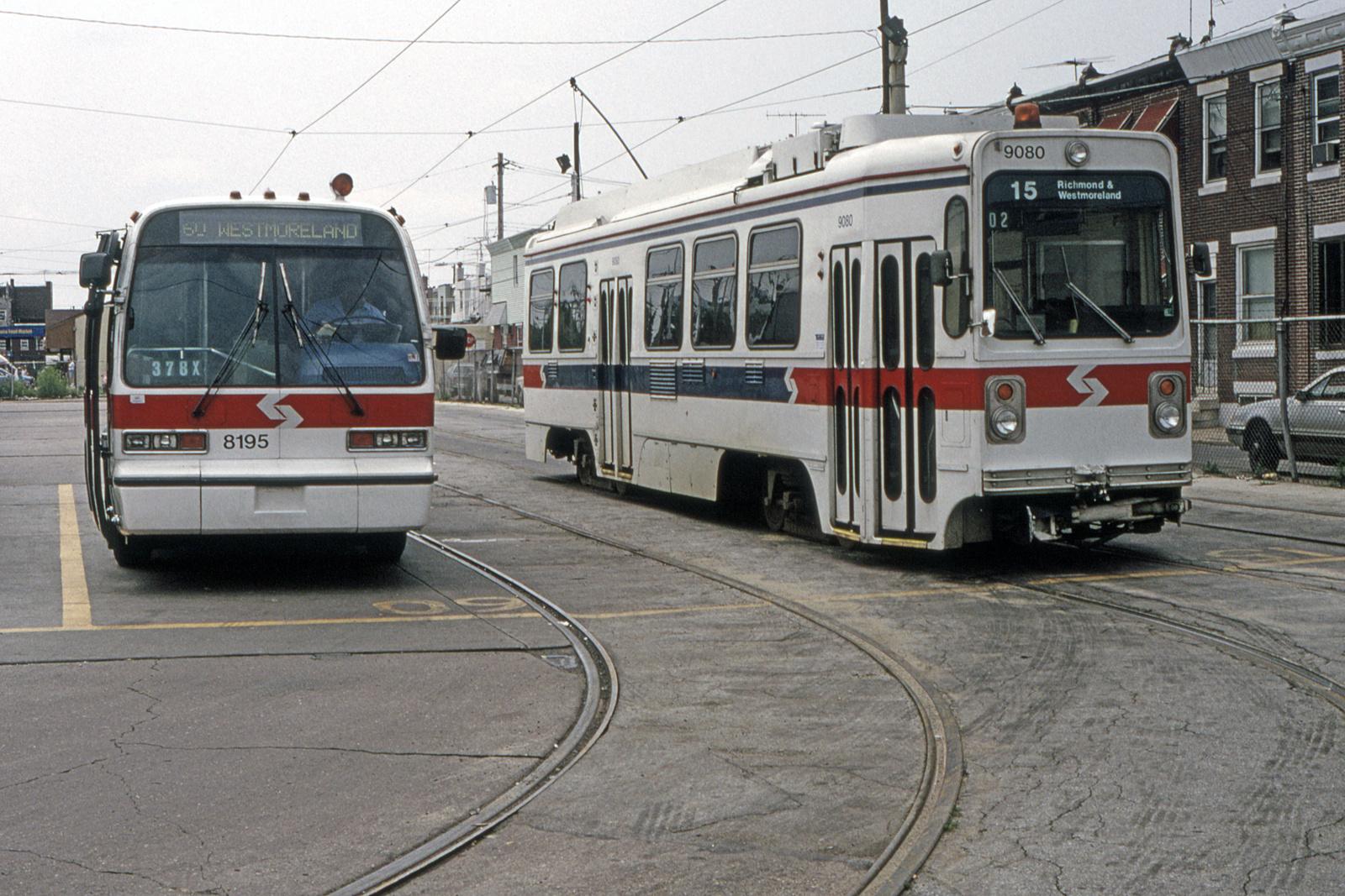 (918k, 1600x1067)<br><b>Country:</b> United States<br><b>City:</b> Philadelphia, PA<br><b>System:</b> SEPTA (or Predecessor)<br><b>Line:</b> Rt. 15-Girard<br><b>Location:</b> Richmond/Westmoreland <br><b>Car:</b> SEPTA K Single-ended (Kawasaki, 1981) 9080 <br><b>Collection of:</b> David Pirmann<br><b>Date:</b> 6/20/1992<br><b>Viewed (this week/total):</b> 0 / 26