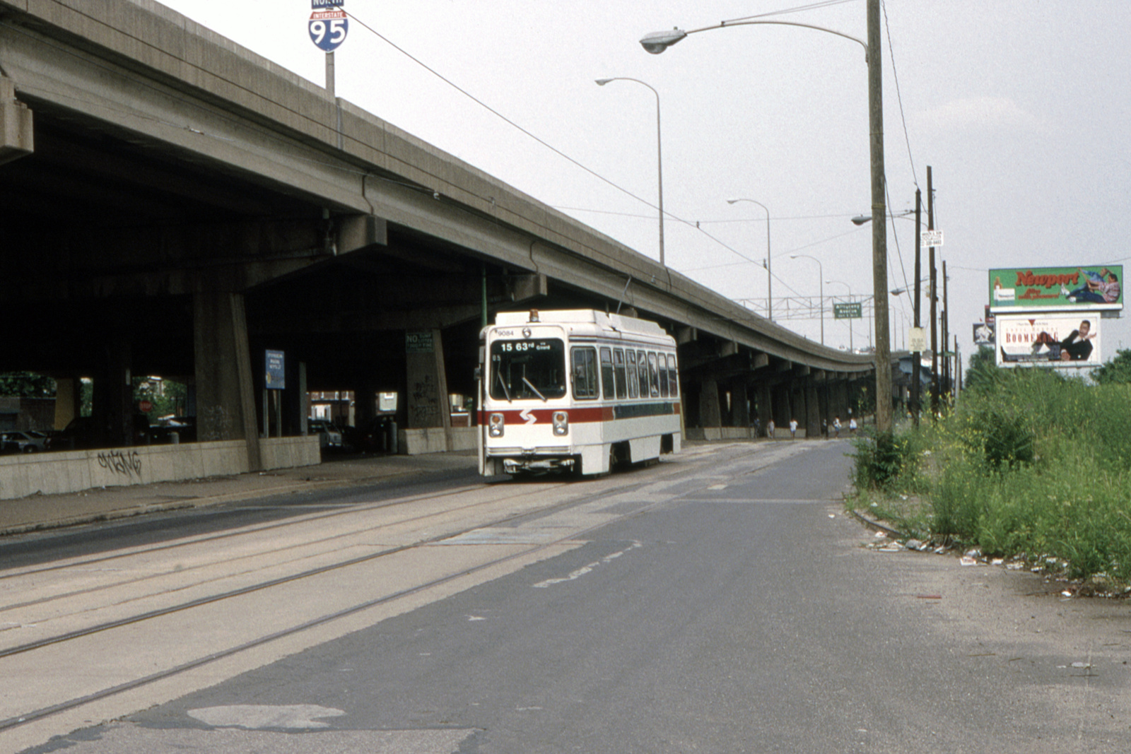 (664k, 1600x1067)<br><b>Country:</b> United States<br><b>City:</b> Philadelphia, PA<br><b>System:</b> SEPTA (or Predecessor)<br><b>Line:</b> Rt. 15-Girard<br><b>Location:</b> Richmond/Cumberland<br><b>Car:</b> SEPTA K Single-ended (Kawasaki, 1981) 9084 <br><b>Collection of:</b> David Pirmann<br><b>Date:</b> 6/20/1992<br><b>Viewed (this week/total):</b> 1 / 85