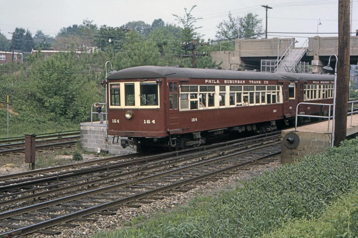 (648k, 1200x800)<br><b>Country:</b> United States<br><b>City:</b> Philadelphia, PA<br><b>System:</b> SEPTA (or Predecessor)<br><b>Line:</b> 100-Norristown<br><b>Location:</b> Bryn Mawr<br><b>Car:</b> PSTC/SEPTA Strafford (J.G. Brill Co., 1927-1929) 164 <br><b>Collection of:</b> David Pirmann<br><b>Date:</b> 5/1985<br><b>Viewed (this week/total):</b> 2 / 32