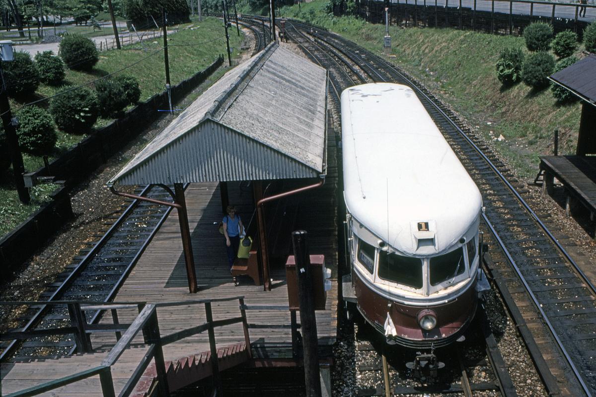 (618k, 1200x800)<br><b>Country:</b> United States<br><b>City:</b> Philadelphia, PA<br><b>System:</b> SEPTA (or Predecessor)<br><b>Line:</b> 100-Norristown<br><b>Location:</b> Bryn Mawr<br><b>Car:</b> PSTC/SEPTA Bullet (J.G. Brill Co., 1931-1934) 201 <br><b>Photo by:</b> John Van Buskirk<br><b>Collection of:</b> David Pirmann<br><b>Date:</b> 6/5/1983<br><b>Viewed (this week/total):</b> 2 / 36