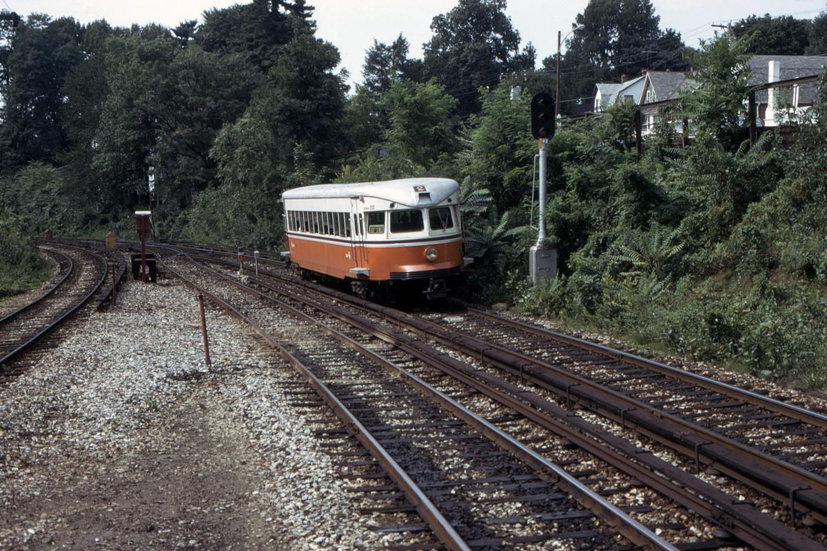 (726k, 1200x800)<br><b>Country:</b> United States<br><b>City:</b> Philadelphia, PA<br><b>System:</b> SEPTA (or Predecessor)<br><b>Line:</b> 100-Norristown<br><b>Location:</b> Bryn Mawr<br><b>Car:</b> PSTC/SEPTA Bullet (J.G. Brill Co., 1931-1934) 202 <br><b>Collection of:</b> David Pirmann<br><b>Date:</b> 8/1975<br><b>Viewed (this week/total):</b> 2 / 29