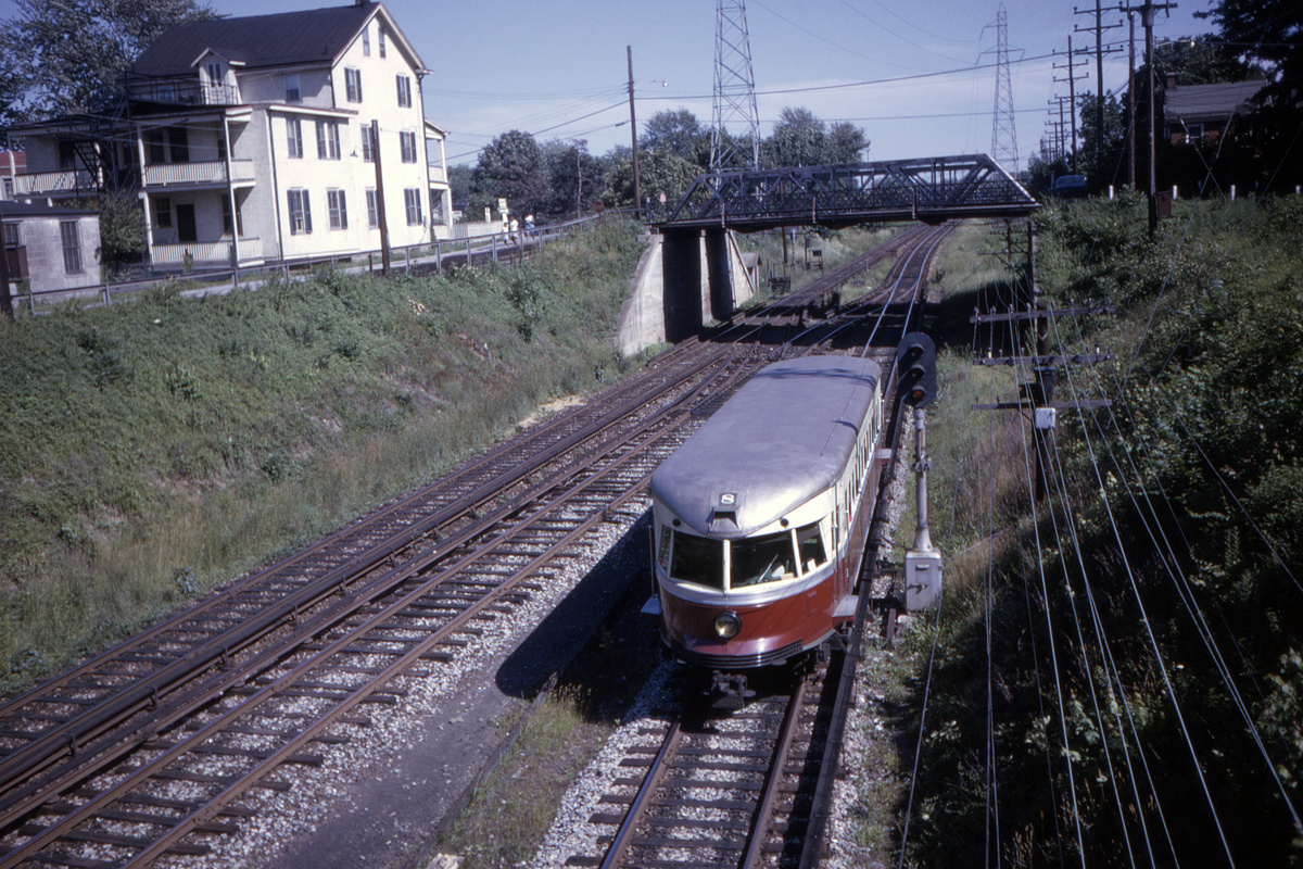(629k, 1200x800)<br><b>Country:</b> United States<br><b>City:</b> Philadelphia, PA<br><b>System:</b> SEPTA (or Predecessor)<br><b>Line:</b> 100-Norristown<br><b>Location:</b> Bryn Mawr<br><b>Car:</b> PSTC/SEPTA Bullet (J.G. Brill Co., 1931-1934) 208 <br><b>Collection of:</b> David Pirmann<br><b>Date:</b> 6/22/1963<br><b>Viewed (this week/total):</b> 3 / 35