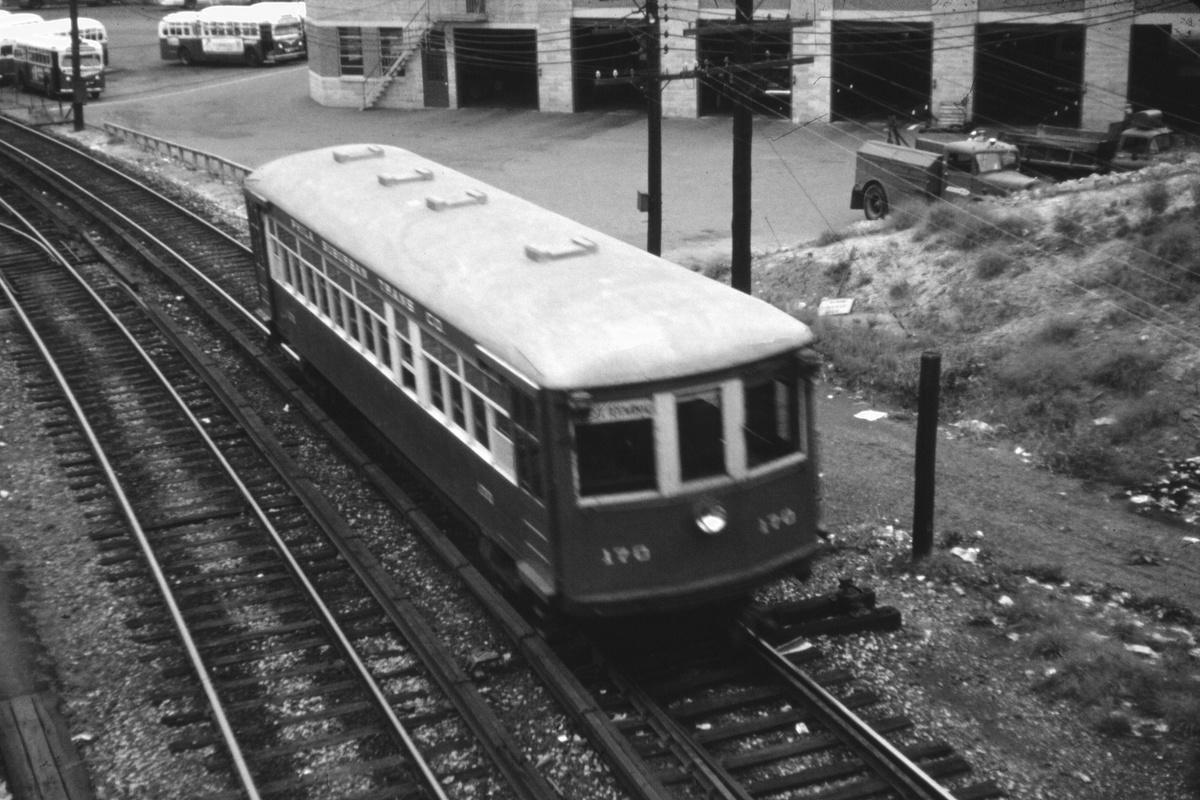 (339k, 1200x800)<br><b>Country:</b> United States<br><b>City:</b> Philadelphia, PA<br><b>System:</b> SEPTA (or Predecessor)<br><b>Line:</b> 100-Norristown<br><b>Location:</b> 69th Street<br><b>Car:</b> PSTC/SEPTA Strafford (J.G. Brill Co., 1927-1929) 170 <br><b>Collection of:</b> David Pirmann<br><b>Date:</b> 8/1962<br><b>Viewed (this week/total):</b> 3 / 27