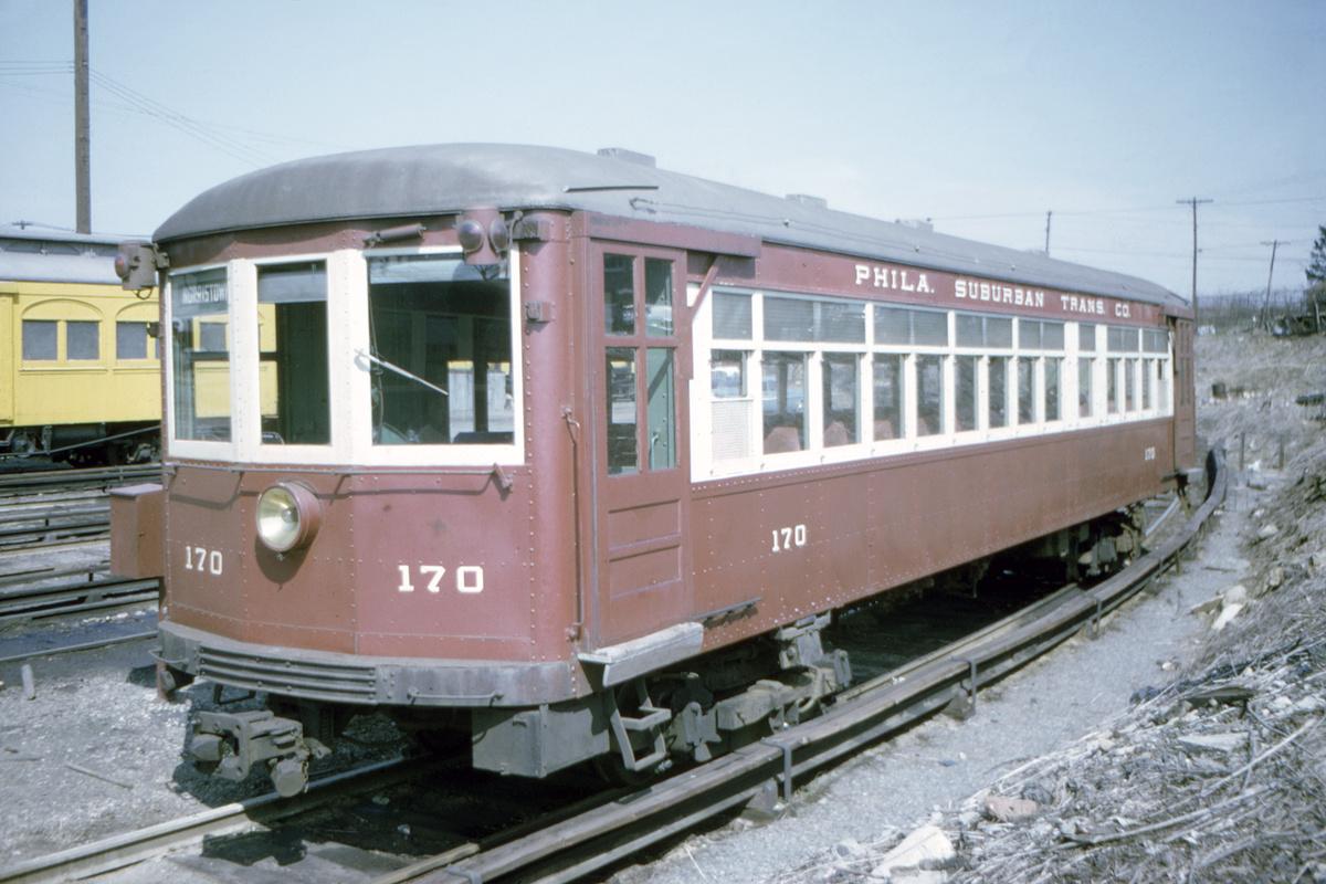 (410k, 1200x800)<br><b>Country:</b> United States<br><b>City:</b> Philadelphia, PA<br><b>System:</b> SEPTA (or Predecessor)<br><b>Line:</b> 100-Norristown<br><b>Location:</b> 72nd (69th) St. Yard-Norristown Line<br><b>Car:</b> PSTC/SEPTA Strafford (J.G. Brill Co., 1927-1929) 170 <br><b>Collection of:</b> David Pirmann<br><b>Date:</b> 8/1967<br><b>Viewed (this week/total):</b> 2 / 28