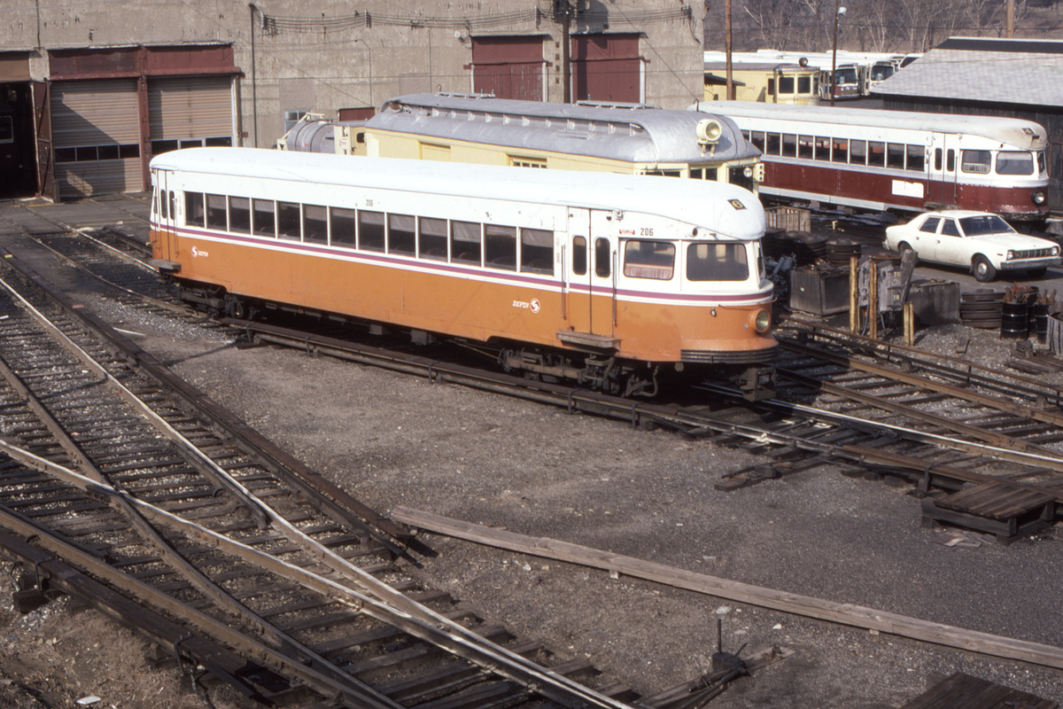 (549k, 1200x800)<br><b>Country:</b> United States<br><b>City:</b> Philadelphia, PA<br><b>System:</b> SEPTA (or Predecessor)<br><b>Line:</b> 100-Norristown<br><b>Location:</b> 72nd (69th) St. Yard-Norristown Line<br><b>Car:</b> PSTC/SEPTA Bullet (J.G. Brill Co., 1931-1934) 206 <br><b>Collection of:</b> David Pirmann<br><b>Date:</b> 2/1981<br><b>Viewed (this week/total):</b> 3 / 32