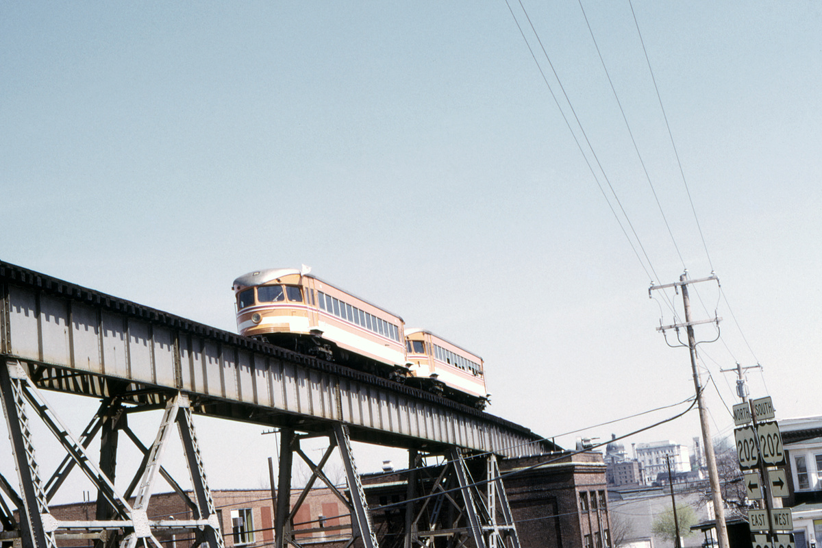 (409k, 1200x800)<br><b>Country:</b> United States<br><b>City:</b> Philadelphia, PA<br><b>System:</b> SEPTA (or Predecessor)<br><b>Line:</b> 100-Norristown<br><b>Location:</b> Schuykill River Trestle<br><b>Car:</b> PSTC/SEPTA Bullet (J.G. Brill Co., 1931-1934) 208-209 <br><b>Collection of:</b> David Pirmann<br><b>Date:</b> 4/1974<br><b>Viewed (this week/total):</b> 2 / 35