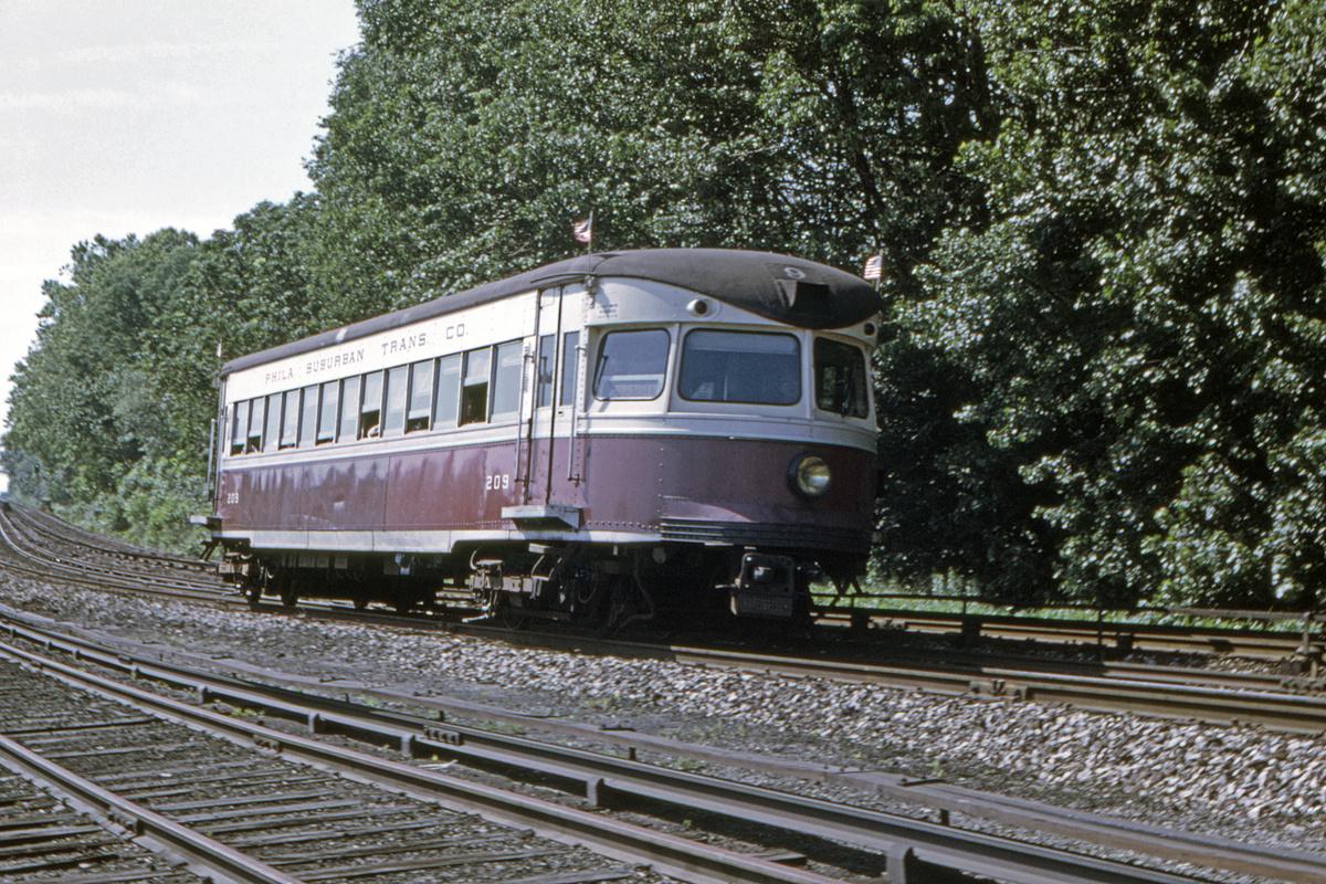 (723k, 1200x800)<br><b>Country:</b> United States<br><b>City:</b> Philadelphia, PA<br><b>System:</b> SEPTA (or Predecessor)<br><b>Line:</b> 100-Norristown<br><b>Location:</b> 69th Street<br><b>Car:</b> PSTC/SEPTA Bullet (J.G. Brill Co., 1931-1934) 209 <br><b>Collection of:</b> David Pirmann<br><b>Date:</b> 5/30/1969<br><b>Viewed (this week/total):</b> 3 / 29