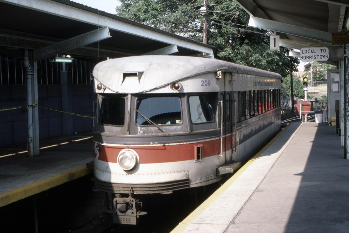 (413k, 1200x800)<br><b>Country:</b> United States<br><b>City:</b> Philadelphia, PA<br><b>System:</b> SEPTA (or Predecessor)<br><b>Line:</b> 100-Norristown<br><b>Location:</b> 69th Street<br><b>Car:</b> PSTC/SEPTA Bullet (J.G. Brill Co., 1931-1934) 209 <br><b>Collection of:</b> David Pirmann<br><b>Date:</b> 9/1987<br><b>Viewed (this week/total):</b> 3 / 32