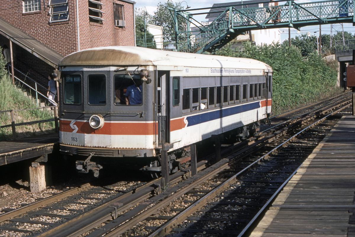 (633k, 1200x800)<br><b>Country:</b> United States<br><b>City:</b> Philadelphia, PA<br><b>System:</b> SEPTA (or Predecessor)<br><b>Line:</b> 100-Norristown<br><b>Location:</b> Bryn Mawr<br><b>Car:</b> PSTC/SEPTA Strafford (J.G. Brill Co., 1927-1929) 163 <br><b>Collection of:</b> David Pirmann<br><b>Date:</b> 8/1978<br><b>Viewed (this week/total):</b> 3 / 42