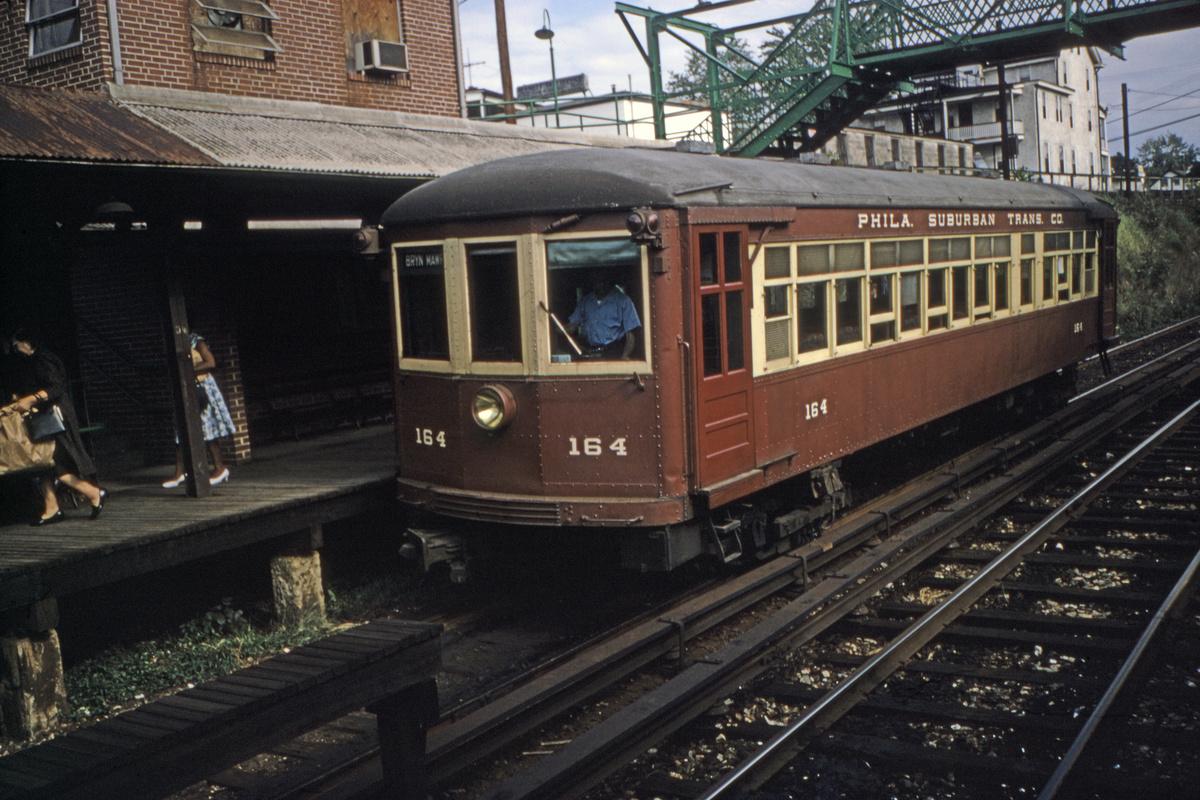 (492k, 1200x800)<br><b>Country:</b> United States<br><b>City:</b> Philadelphia, PA<br><b>System:</b> SEPTA (or Predecessor)<br><b>Line:</b> 100-Norristown<br><b>Location:</b> Bryn Mawr<br><b>Car:</b> PSTC/SEPTA Strafford (J.G. Brill Co., 1927-1929) 164 <br><b>Collection of:</b> David Pirmann<br><b>Date:</b> 9/1968<br><b>Viewed (this week/total):</b> 4 / 40