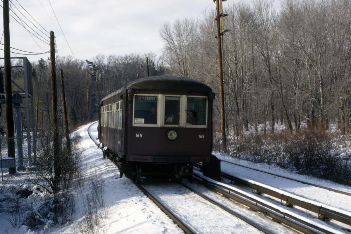 (514k, 1200x800)<br><b>Country:</b> United States<br><b>City:</b> Philadelphia, PA<br><b>System:</b> SEPTA (or Predecessor)<br><b>Line:</b> 100-Norristown<br><b>Location:</b> Norristown line-Loc. unknown.<br><b>Car:</b> PSTC/SEPTA Strafford (J.G. Brill Co., 1927-1929) 165 <br><b>Collection of:</b> David Pirmann<br><b>Date:</b> 2/1972<br><b>Viewed (this week/total):</b> 5 / 36