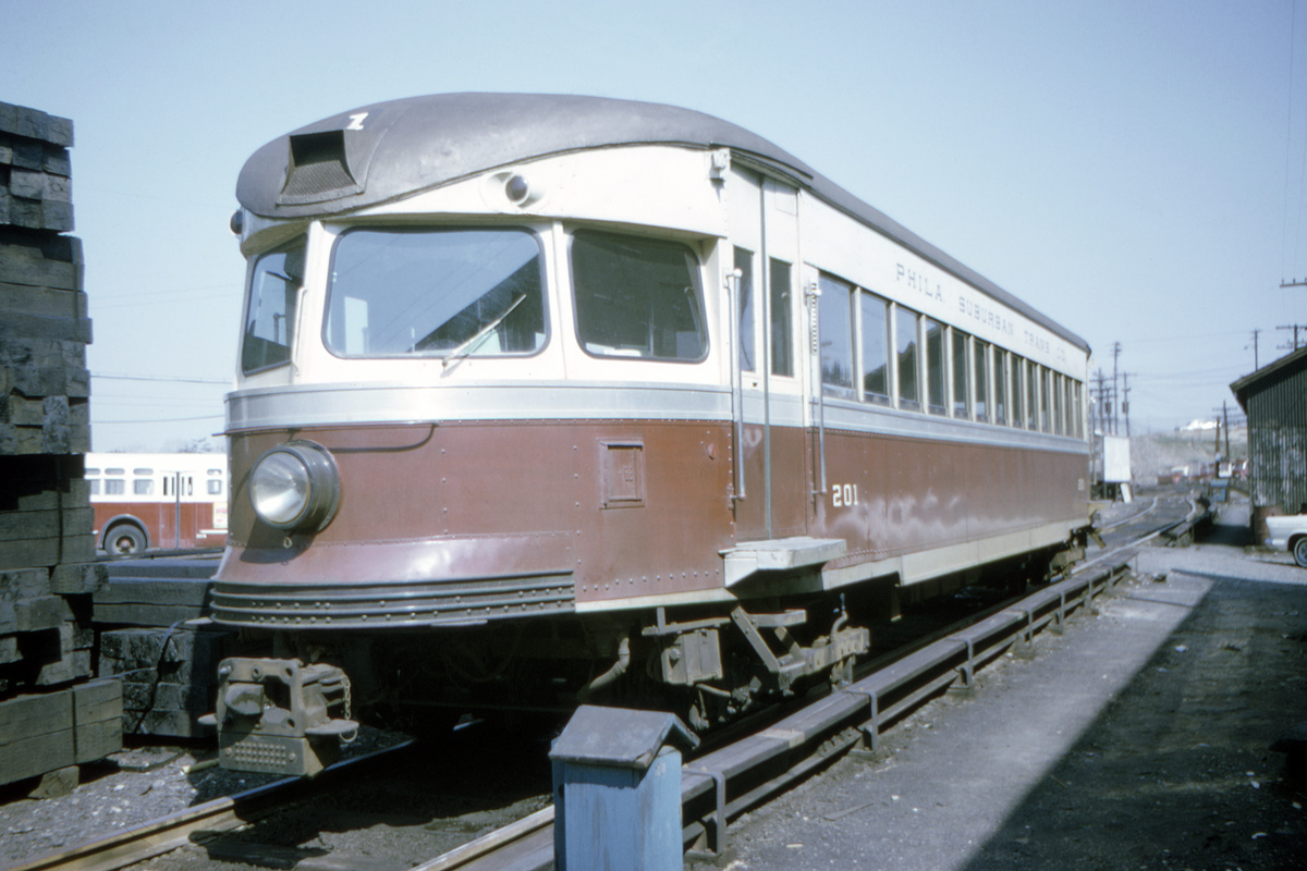 (360k, 1200x800)<br><b>Country:</b> United States<br><b>City:</b> Philadelphia, PA<br><b>System:</b> SEPTA (or Predecessor)<br><b>Line:</b> 100-Norristown<br><b>Location:</b> 72nd (69th) St. Yard-Norristown Line<br><b>Car:</b> PSTC/SEPTA Bullet (J.G. Brill Co., 1931-1934) 201 <br><b>Collection of:</b> David Pirmann<br><b>Date:</b> 8/1978<br><b>Viewed (this week/total):</b> 2 / 24