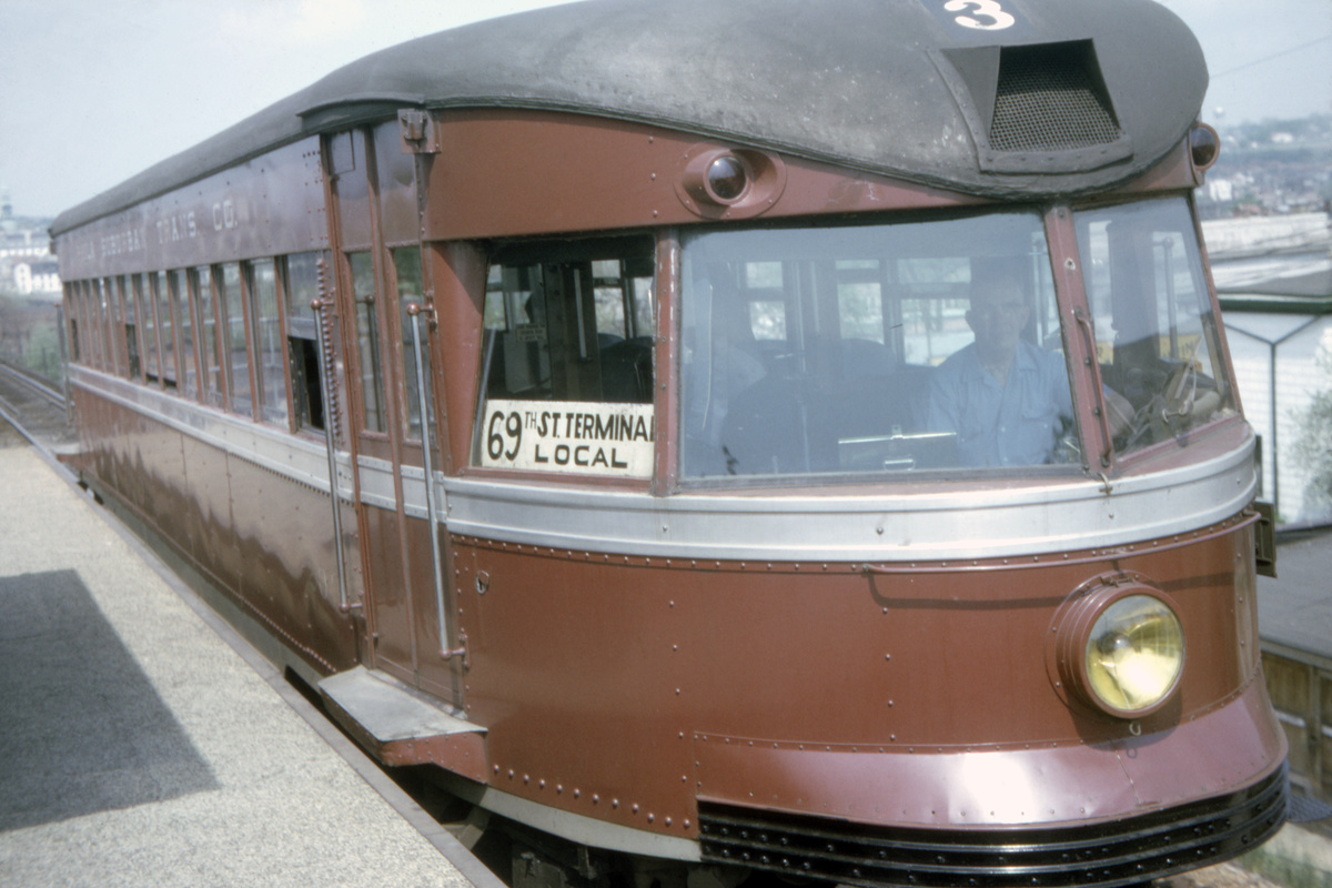 (348k, 1200x800)<br><b>Country:</b> United States<br><b>City:</b> Philadelphia, PA<br><b>System:</b> SEPTA (or Predecessor)<br><b>Line:</b> 100-Norristown<br><b>Location:</b> Norristown line-Loc. unknown.<br><b>Car:</b> PSTC/SEPTA Bullet (J.G. Brill Co., 1931-1934) 203 <br><b>Collection of:</b> David Pirmann<br><b>Date:</b> 12/1964<br><b>Viewed (this week/total):</b> 6 / 42