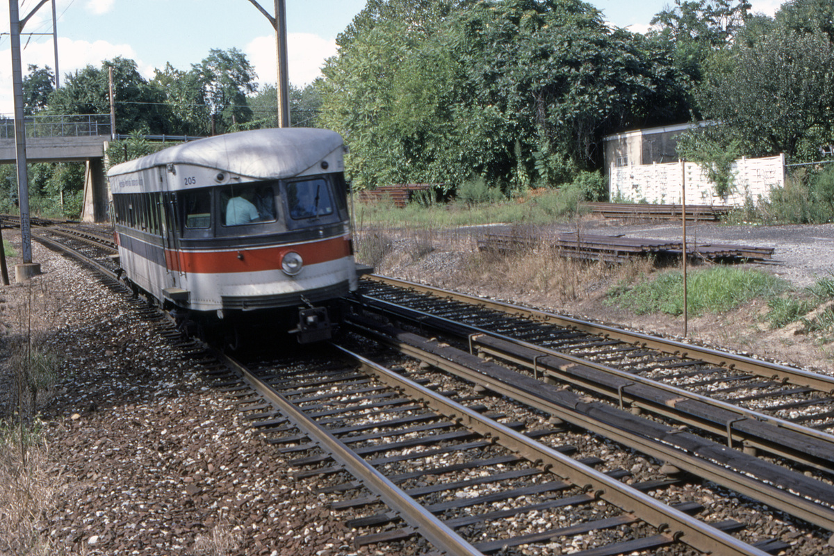 (726k, 1200x800)<br><b>Country:</b> United States<br><b>City:</b> Philadelphia, PA<br><b>System:</b> SEPTA (or Predecessor)<br><b>Line:</b> 100-Norristown<br><b>Location:</b> Norristown line-Loc. unknown.<br><b>Car:</b> PSTC/SEPTA Bullet (J.G. Brill Co., 1931-1934) 205 <br><b>Collection of:</b> David Pirmann<br><b>Date:</b> 8/1987<br><b>Viewed (this week/total):</b> 2 / 42