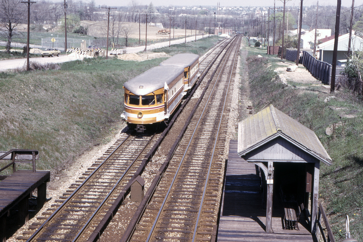 (715k, 1200x800)<br><b>Country:</b> United States<br><b>City:</b> Philadelphia, PA<br><b>System:</b> SEPTA (or Predecessor)<br><b>Line:</b> 100-Norristown<br><b>Location:</b> Norristown line-Loc. unknown.<br><b>Car:</b> PSTC/SEPTA Bullet (J.G. Brill Co., 1931-1934) 208-209 <br><b>Collection of:</b> David Pirmann<br><b>Date:</b> 4/1974<br><b>Viewed (this week/total):</b> 3 / 33