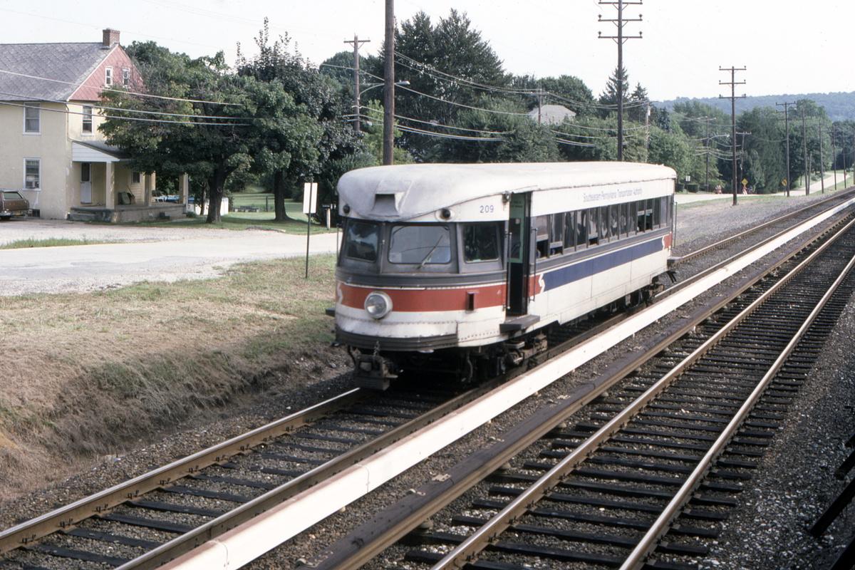 (606k, 1200x800)<br><b>Country:</b> United States<br><b>City:</b> Philadelphia, PA<br><b>System:</b> SEPTA (or Predecessor)<br><b>Line:</b> 100-Norristown<br><b>Location:</b> Norristown line-Loc. unknown.<br><b>Car:</b> PSTC/SEPTA Bullet (J.G. Brill Co., 1931-1934) 209 <br><b>Collection of:</b> David Pirmann<br><b>Date:</b> 9/1987<br><b>Viewed (this week/total):</b> 2 / 37