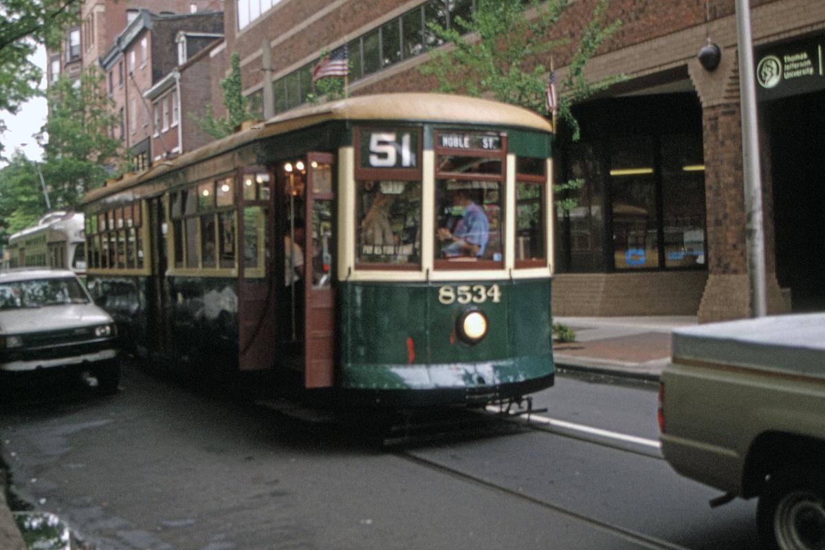 (470k, 1200x800)<br><b>Country:</b> United States<br><b>City:</b> Philadelphia, PA<br><b>System:</b> SEPTA (or Predecessor)<br><b>Line:</b> Rt. 23-Germantown<br><b>Location:</b> 11th/Walnut<br><b>Route:</b> Fan Trip<br><b>Car:</b> PTC 8534 <br><b>Collection of:</b> David Pirmann<br><b>Date:</b> 5/19/1995<br><b>Viewed (this week/total):</b> 1 / 50
