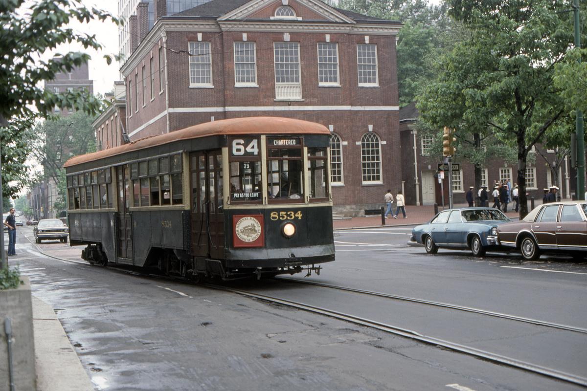 (530k, 1200x800)<br><b>Country:</b> United States<br><b>City:</b> Philadelphia, PA<br><b>System:</b> SEPTA (or Predecessor)<br><b>Line:</b> Rt. 50-Rising Sun<br><b>Location:</b> 5th/Chestnut<br><b>Route:</b> Fan Trip<br><b>Car:</b> PTC 8534 <br><b>Collection of:</b> David Pirmann<br><b>Date:</b> 5/1979<br><b>Viewed (this week/total):</b> 1 / 42