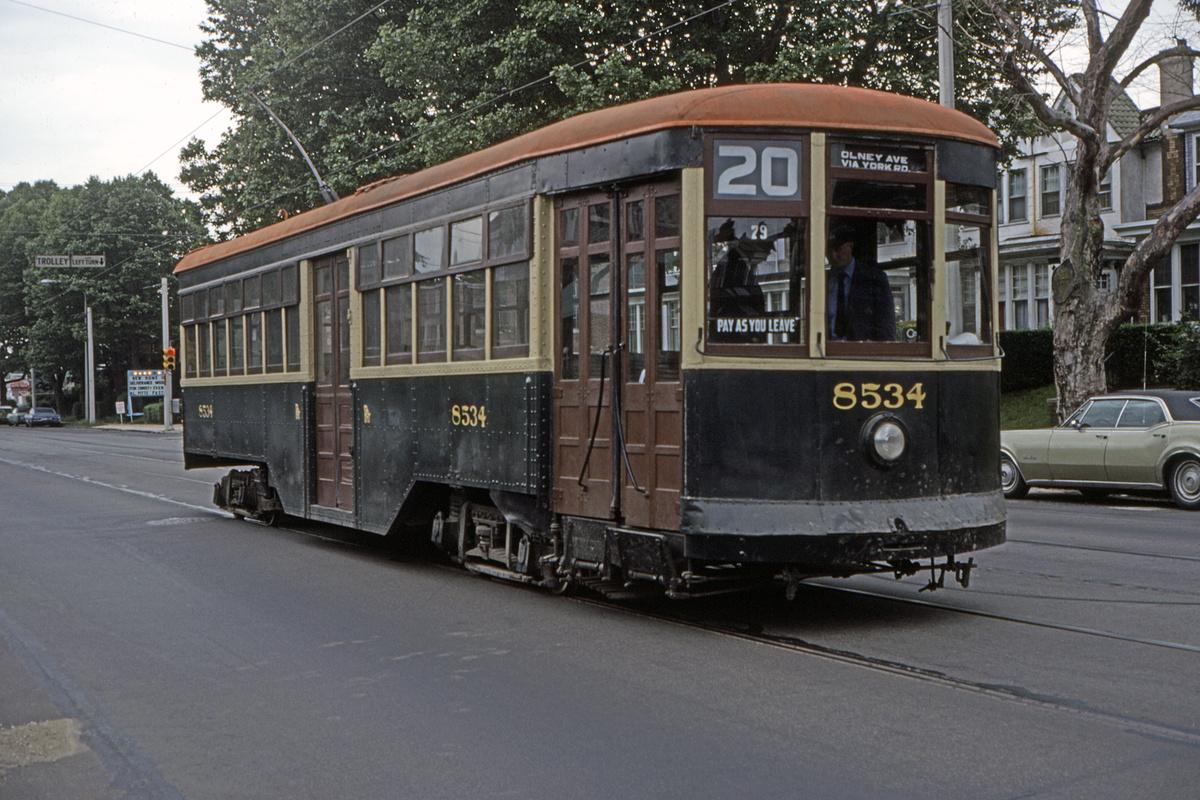 (517k, 1200x800)<br><b>Country:</b> United States<br><b>City:</b> Philadelphia, PA<br><b>System:</b> SEPTA (or Predecessor)<br><b>Line:</b> Rt. 6-Olney/City Line<br><b>Route:</b> Fan Trip<br><b>Car:</b> PTC 8534 <br><b>Collection of:</b> David Pirmann<br><b>Date:</b> 5/1979<br><b>Viewed (this week/total):</b> 1 / 60