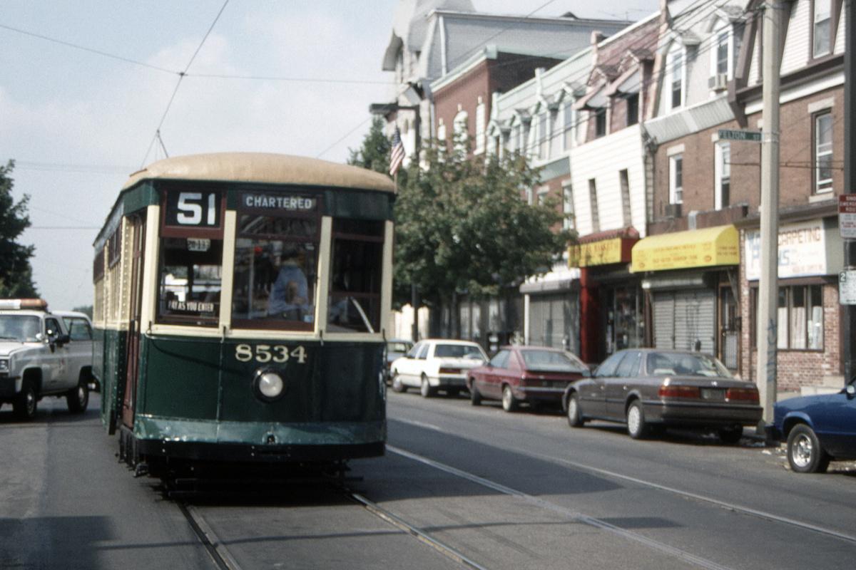 (403k, 1200x800)<br><b>Country:</b> United States<br><b>City:</b> Philadelphia, PA<br><b>System:</b> SEPTA (or Predecessor)<br><b>Line:</b> Rt. 11-Darby<br><b>Location:</b> Woodland/Felton<br><b>Route:</b> Fan Trip<br><b>Car:</b> PTC 8534 <br><b>Collection of:</b> David Pirmann<br><b>Date:</b> 8/27/1995<br><b>Viewed (this week/total):</b> 0 / 45
