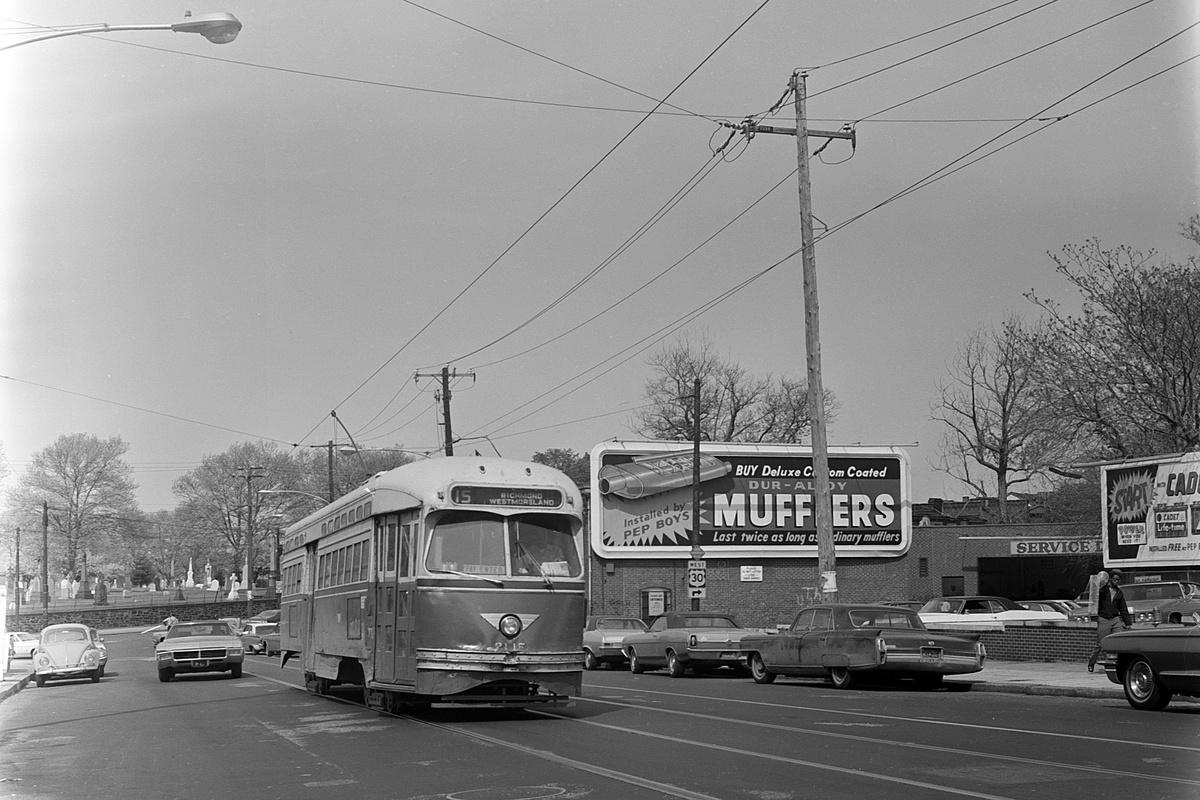 (361k, 1200x800)<br><b>Country:</b> United States<br><b>City:</b> Philadelphia, PA<br><b>System:</b> SEPTA (or Predecessor)<br><b>Line:</b> Rt. 15-Girard<br><b>Location:</b> Girard/48th/Lancaster<br><b>Car:</b> PTC/SEPTA Postwar All-electric PCC (St.Louis, 1948) 2115 <br><b>Collection of:</b> David Pirmann<br><b>Date:</b> 5/6/1972<br><b>Viewed (this week/total):</b> 1 / 56