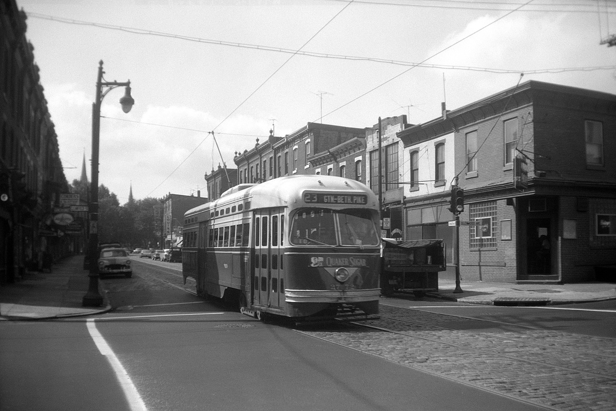 (364k, 1200x800)<br><b>Country:</b> United States<br><b>City:</b> Philadelphia, PA<br><b>System:</b> SEPTA (or Predecessor)<br><b>Line:</b> Rt. 23-Germantown<br><b>Location:</b> Germantown/Glenwood/Clearfield<br><b>Car:</b> PTC/SEPTA Postwar All-electric PCC (St.Louis, 1947) 2772 <br><b>Collection of:</b> David Pirmann<br><b>Date:</b> 7/2/1960<br><b>Viewed (this week/total):</b> 1 / 42