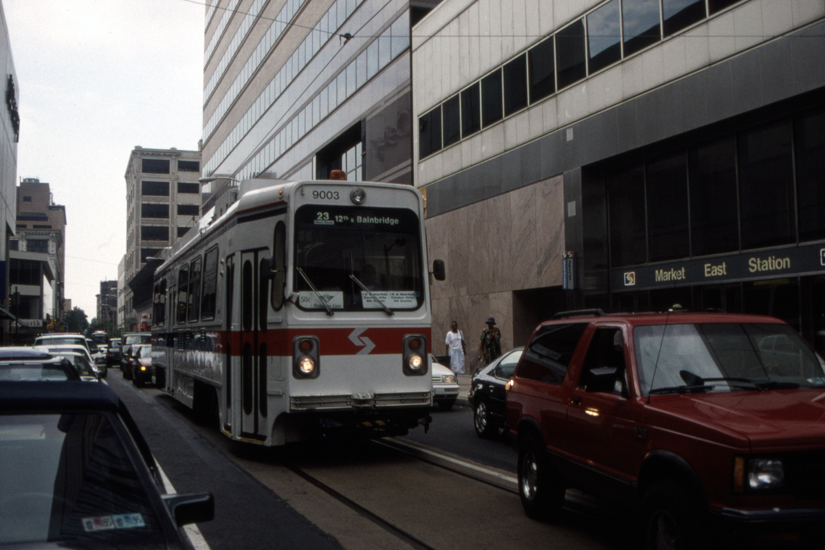 (340k, 1200x800)<br><b>Country:</b> United States<br><b>City:</b> Philadelphia, PA<br><b>System:</b> SEPTA (or Predecessor)<br><b>Line:</b> Rt. 23-Germantown<br><b>Location:</b> 11th/Filbert<br><b>Route:</b> Welcome Line<br><b>Car:</b> SEPTA K Single-ended (Kawasaki, 1981) 9003 <br><b>Collection of:</b> David Pirmann<br><b>Date:</b> 8/5/1995<br><b>Notes:</b> Welcome Line service using 23-Germantown trackage in Center City.<br><b>Viewed (this week/total):</b> 0 / 58