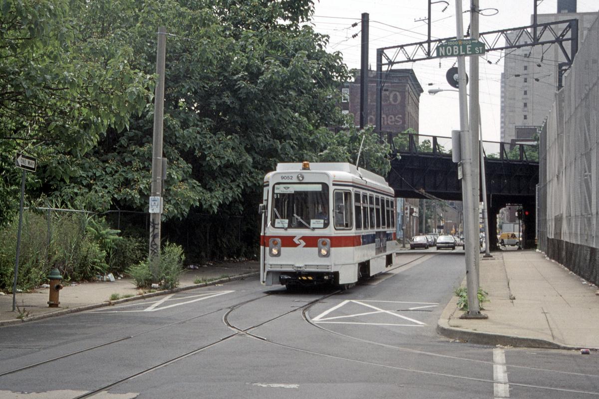 (569k, 1200x800)<br><b>Country:</b> United States<br><b>City:</b> Philadelphia, PA<br><b>System:</b> SEPTA (or Predecessor)<br><b>Line:</b> Rt. 23-Germantown<br><b>Location:</b> 11th/Noble<br><b>Route:</b> Welcome Line<br><b>Car:</b> SEPTA K Single-ended (Kawasaki, 1981) 9052 <br><b>Collection of:</b> David Pirmann<br><b>Date:</b> 8/5/1995<br><b>Notes:</b> Welcome Line service using 23-Germantown trackage in Center City.<br><b>Viewed (this week/total):</b> 2 / 72