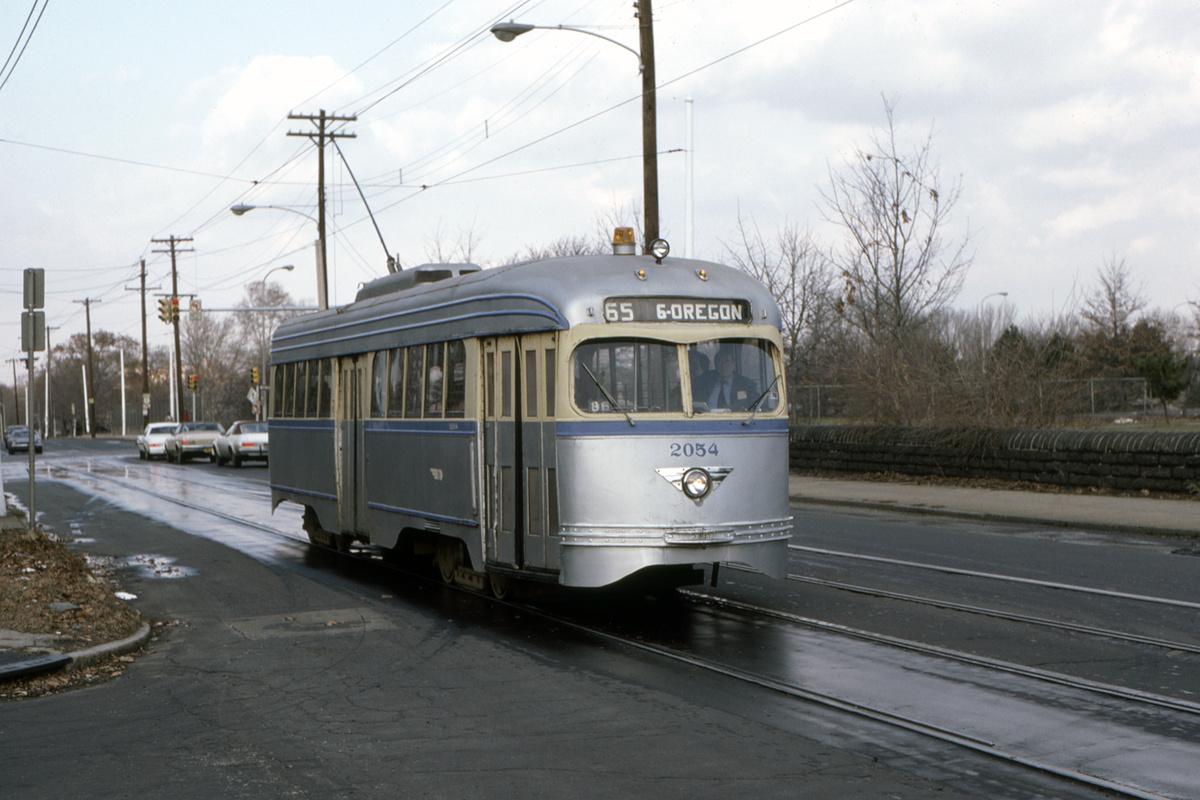 (372k, 1200x800)<br><b>Country:</b> United States<br><b>City:</b> Philadelphia, PA<br><b>System:</b> SEPTA (or Predecessor)<br><b>Route:</b> Fan Trip<br><b>Car:</b> PTC/SEPTA Pre-war Air-car PCC (St.Louis, 1941) 2054 <br><b>Collection of:</b> David Pirmann<br><b>Date:</b> 1/5/1986<br><b>Notes:</b> Old York/Hunting Park-Jerome s/b<br><b>Viewed (this week/total):</b> 2 / 61