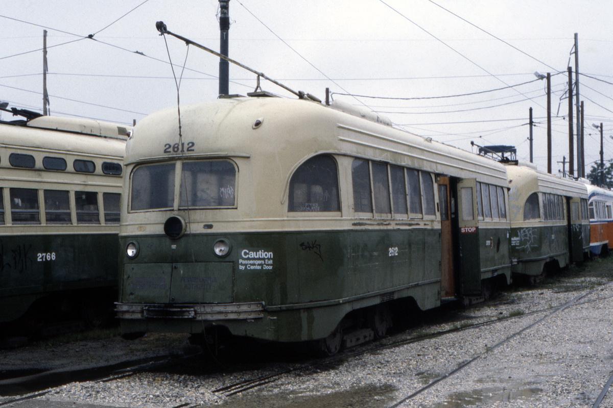 (455k, 1200x800)<br><b>Country:</b> United States<br><b>City:</b> Philadelphia, PA<br><b>System:</b> SEPTA (or Predecessor)<br><b>Location:</b> Luzerne Depot<br><b>Car:</b> PTC/SEPTA Wartime Air-car PCC (St.Louis, 1942) 2612 <br><b>Collection of:</b> David Pirmann<br><b>Date:</b> 10/1983<br><b>Viewed (this week/total):</b> 0 / 62
