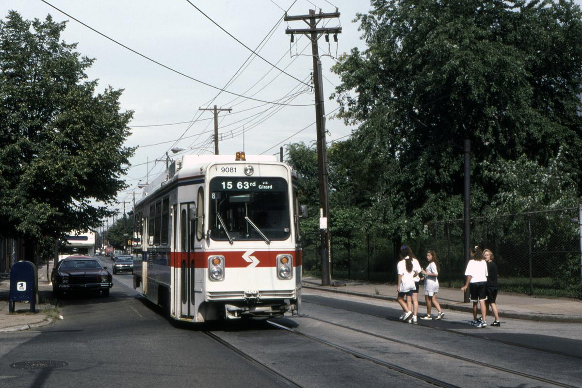 (581k, 1200x800)<br><b>Country:</b> United States<br><b>City:</b> Philadelphia, PA<br><b>System:</b> SEPTA (or Predecessor)<br><b>Line:</b> Rt. 15-Girard<br><b>Location:</b> Richmond/Ann<br><b>Car:</b> SEPTA K Single-ended (Kawasaki, 1981) 9081 <br><b>Collection of:</b> David Pirmann<br><b>Date:</b> 12/1992<br><b>Viewed (this week/total):</b> 0 / 55