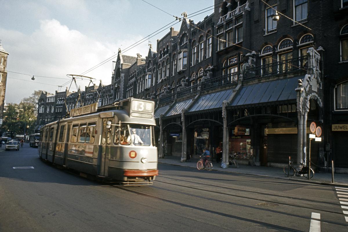 (464k, 1200x800)<br><b>Country:</b> The Netherlands<br><b>City:</b> Amsterdam<br><b>System:</b> GVB (Gemeente Vervoerbedrijf)<br><b>Route:</b> Rt 13<br><b>Car:</b> Type 3G 605 <br><b>Collection of:</b> David Pirmann<br><b>Date:</b> 8/1972<br><b>Viewed (this week/total):</b> 1 / 64