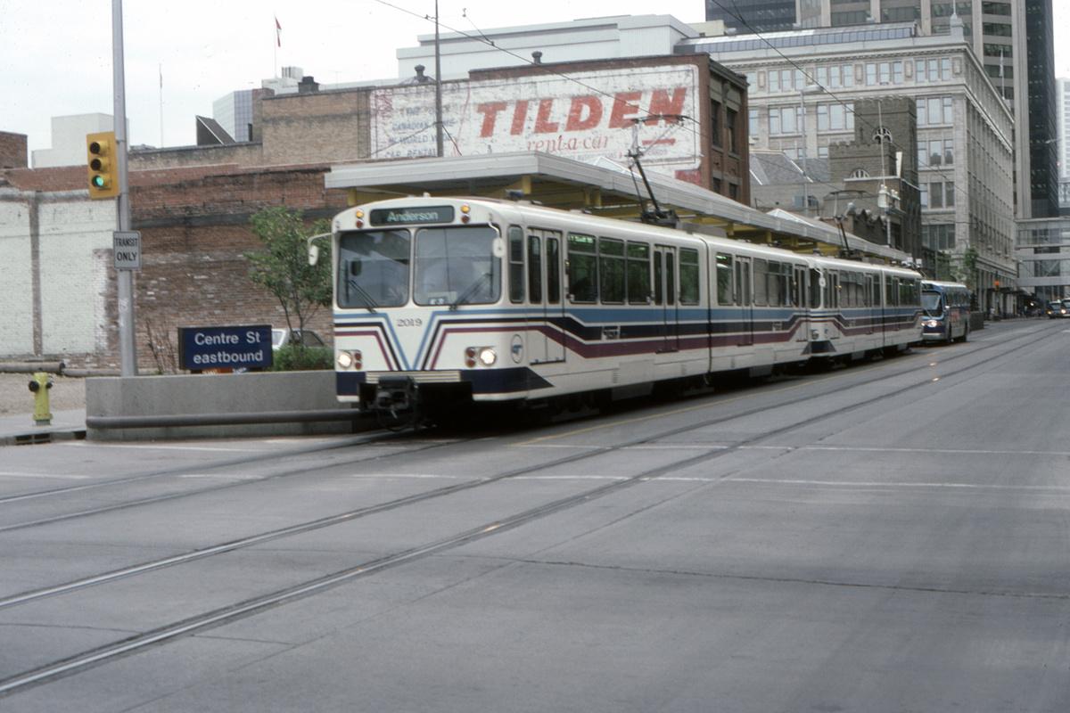 (389k, 1200x800)<br><b>Country:</b> Canada<br><b>City:</b> Calgary<br><b>System:</b> Calgary Transit<br><b>Car:</b> Siemens U2-DC 2019 <br><b>Collection of:</b> David Pirmann<br><b>Date:</b> 6/1983<br><b>Notes:</b> Center Street Eastbound<br><b>Viewed (this week/total):</b> 1 / 62