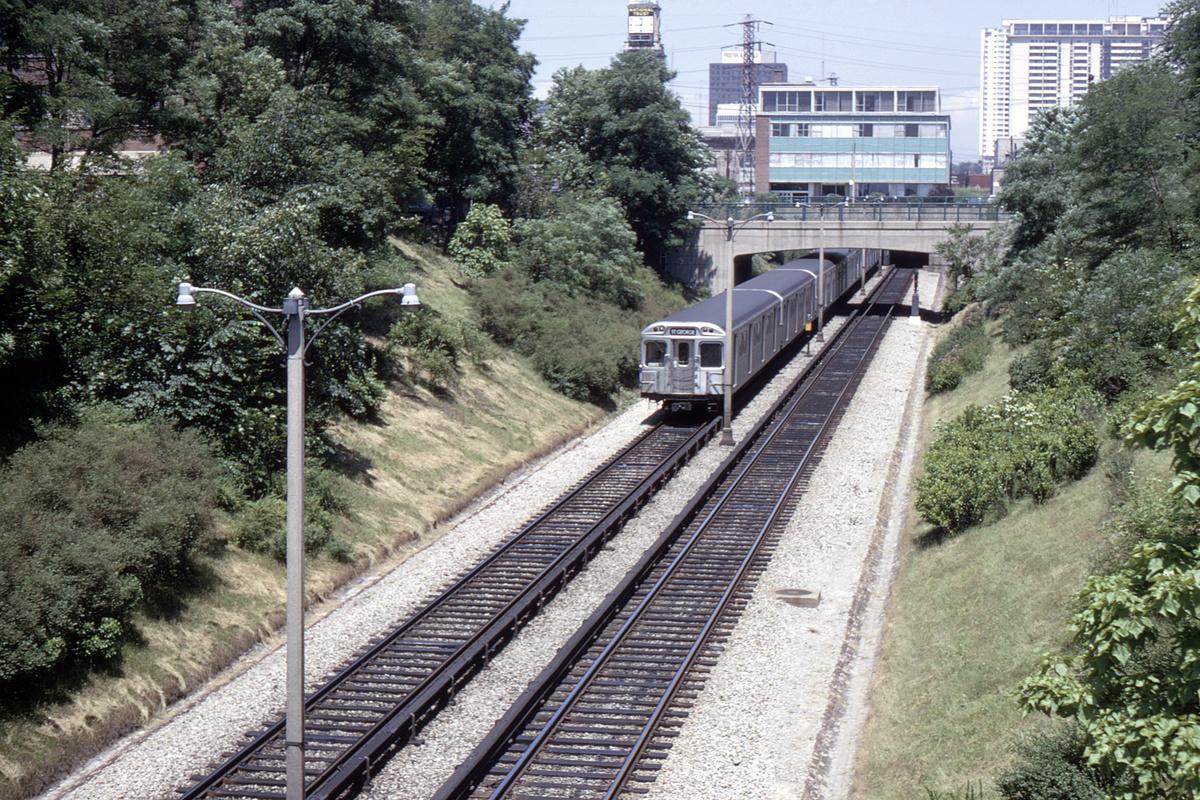 (796k, 1200x800)<br><b>Country:</b> Canada<br><b>City:</b> Toronto<br><b>System:</b> TTC<br><b>Line:</b> TTC Yonge-University-Spadina Subway<br><b>Location:</b> Rosedale<br><b>Photo by:</b> Doug Grotjahn<br><b>Collection of:</b> David Pirmann<br><b>Date:</b> 7/4/1968<br><b>Viewed (this week/total):</b> 0 / 72