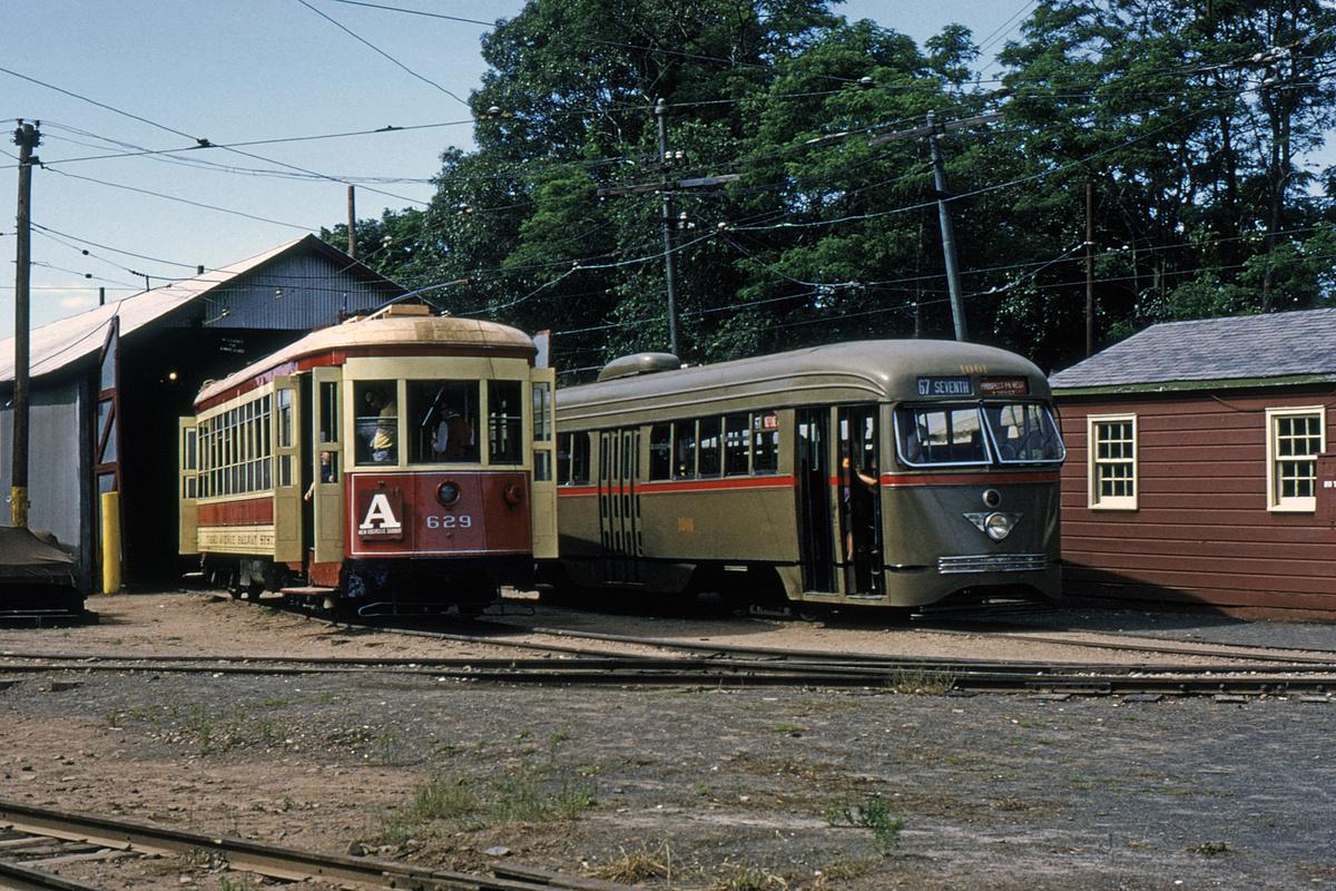 (714k, 1200x800)<br><b>Country:</b> United States<br><b>City:</b> East Haven/Branford, Ct.<br><b>System:</b> Shore Line Trolley Museum<br><b>Car:</b> TARS 629 <br><b>Photo by:</b> Gerald H. Landau<br><b>Collection of:</b> David Pirmann<br><b>Date:</b> 1972<br><b>Notes:</b> With B&QT PCC 1001<br><b>Viewed (this week/total):</b> 0 / 49