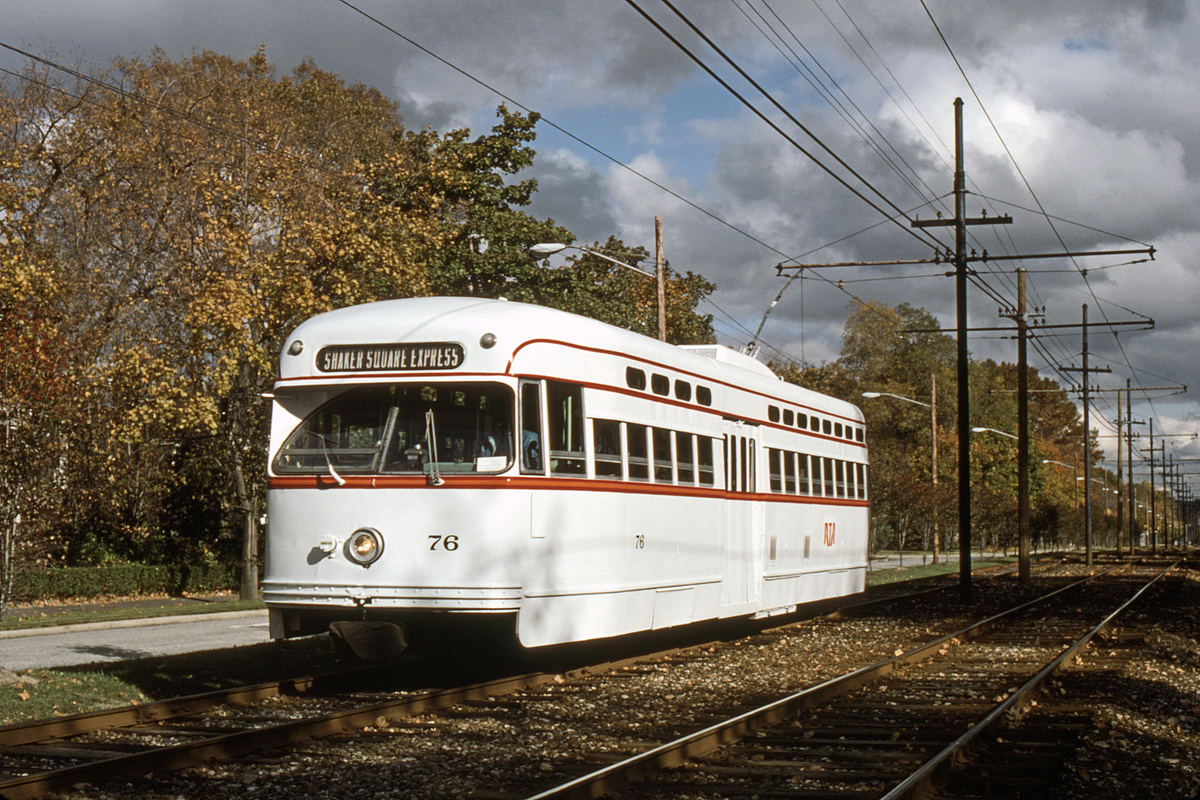 (595k, 1200x800)<br><b>Country:</b> United States<br><b>City:</b> Cleveland, OH<br><b>System:</b> GCRTA (or predecessor)<br><b>Car:</b> PCC 76 <br><b>Photo by:</b> Gerald H. Landau<br><b>Collection of:</b> David Pirmann<br><b>Viewed (this week/total):</b> 0 / 85